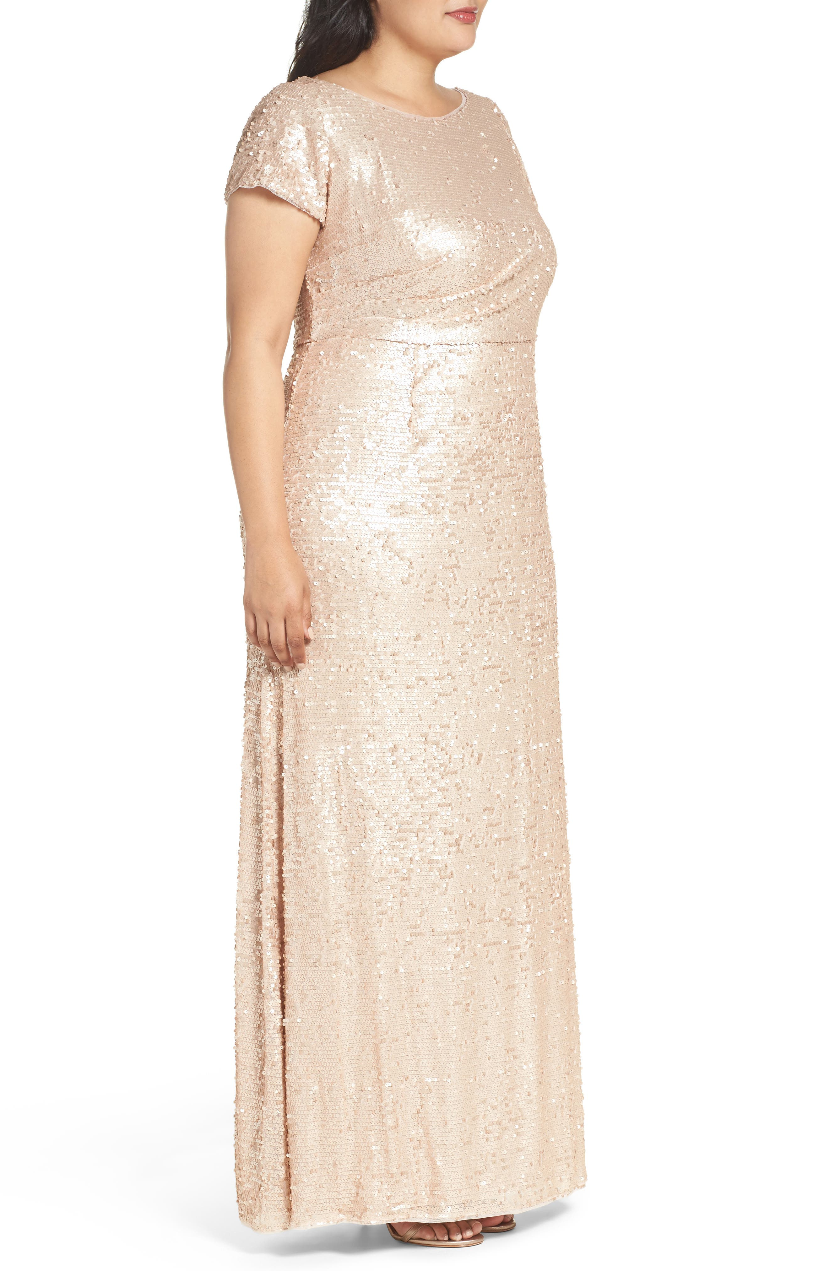 Alternate Image 3  - Adrianna Papell Sequin A-Line Gown (Plus Size)