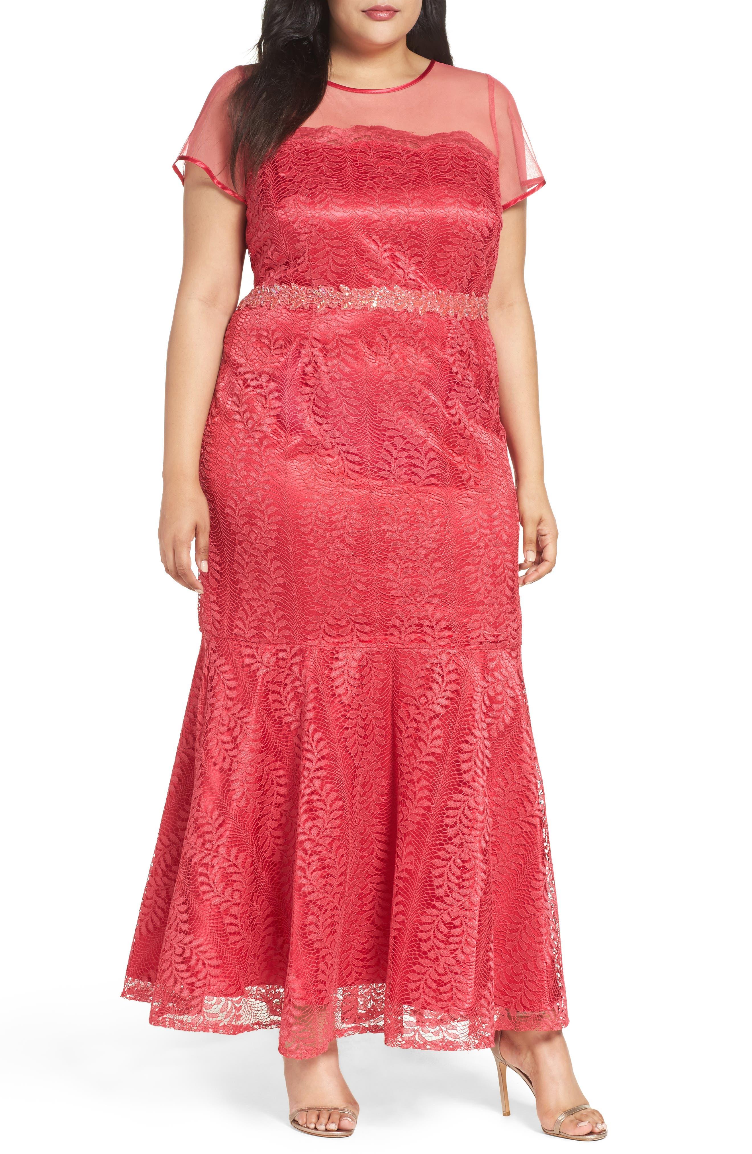 Main Image - Brianna Illusion Yoke Lace Mermaid Gown (Plus Size)