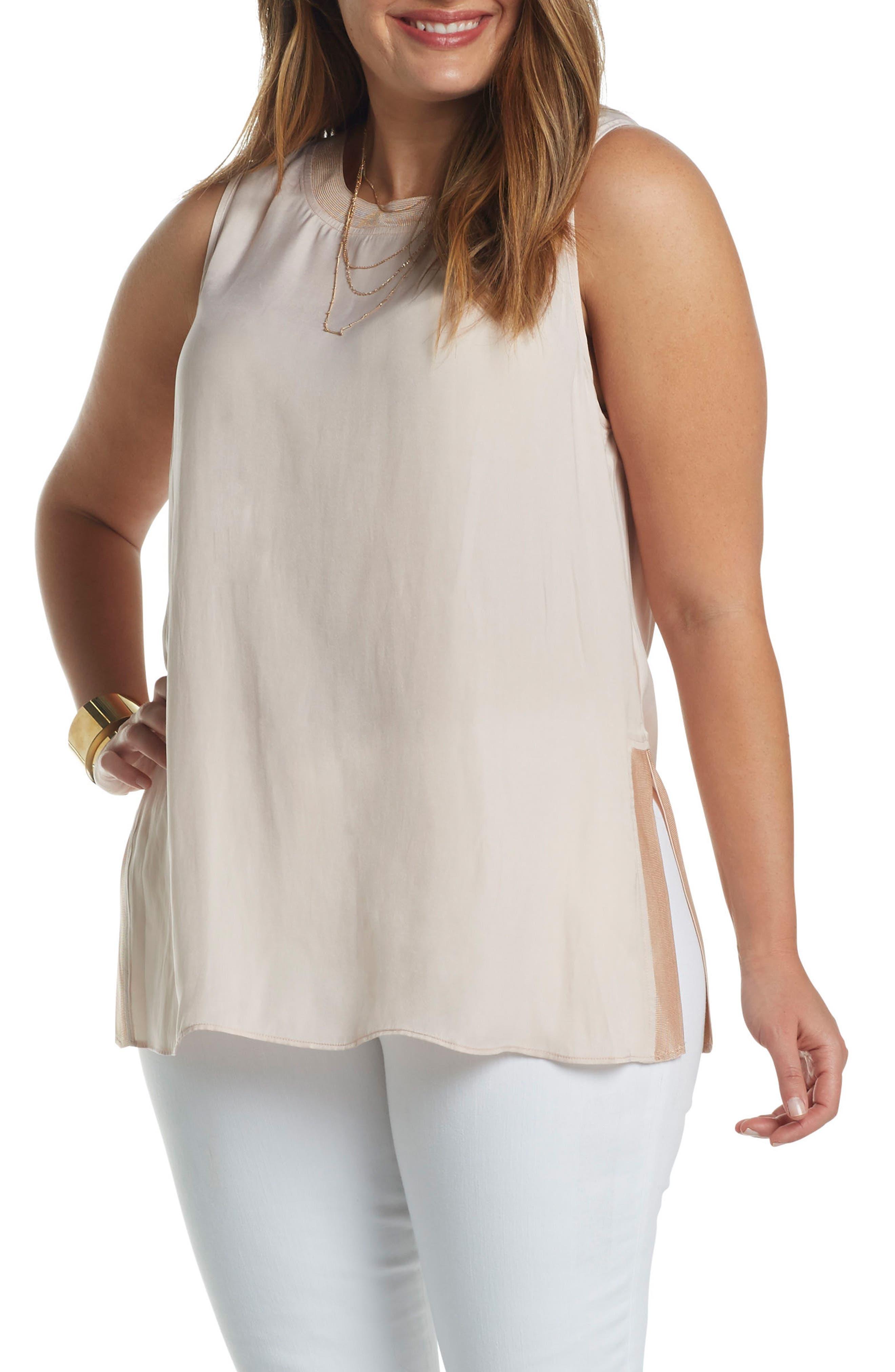 Main Image - Tart Lily Knit Trim Woven Tank (Plus Size)