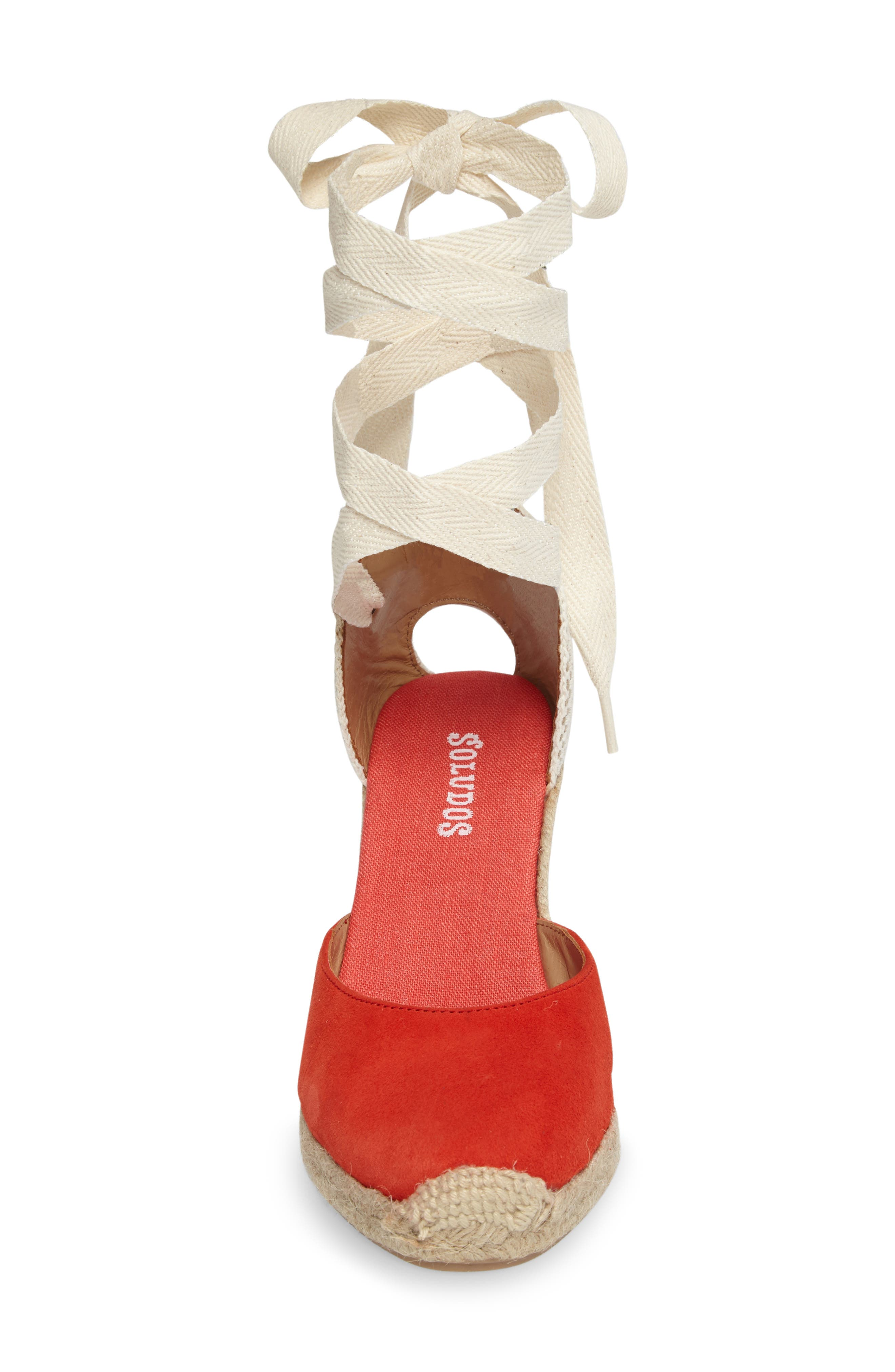 Wedge Sandal,                             Alternate thumbnail 4, color,                             Fire Red Suede
