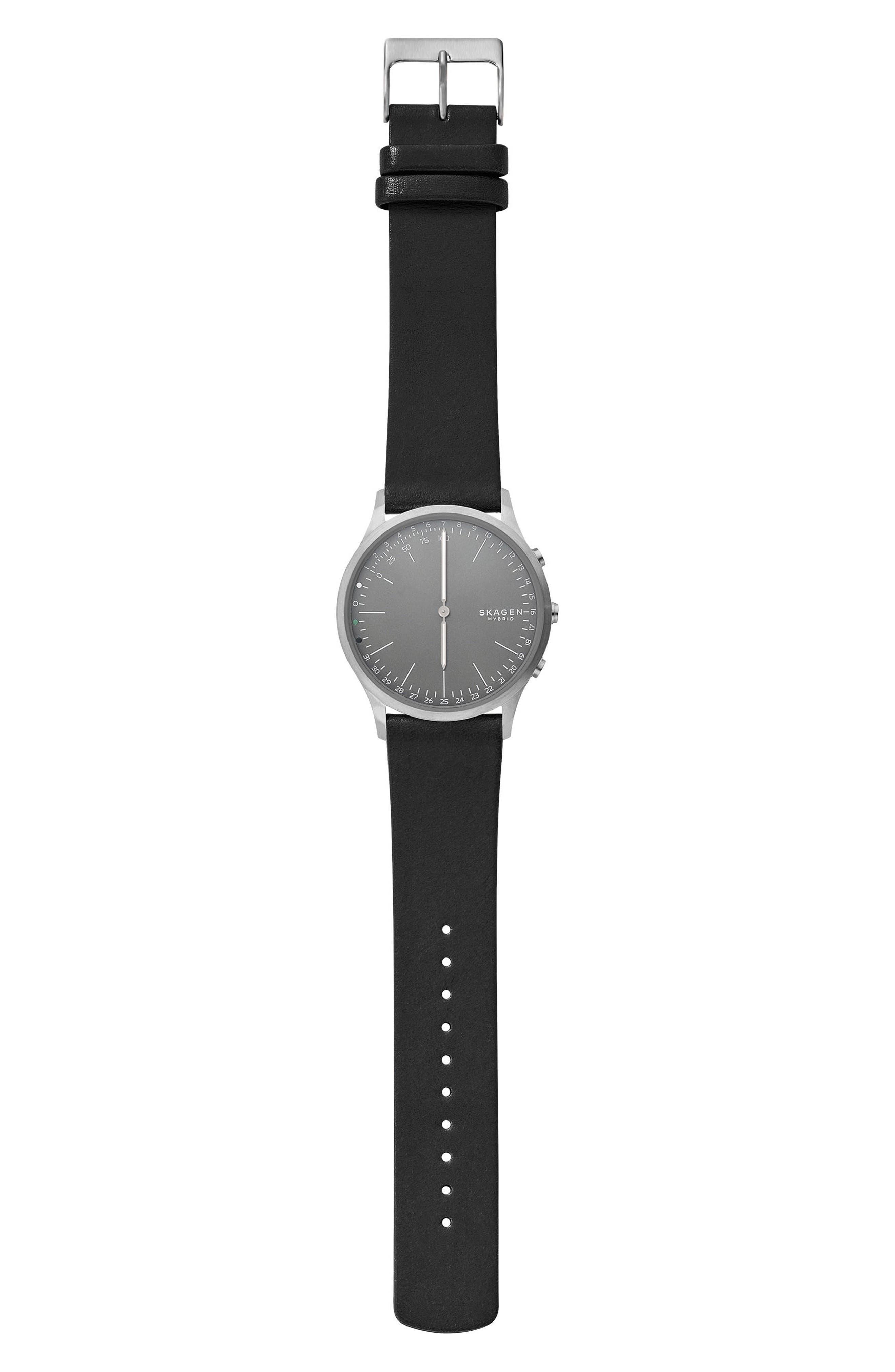 Jorn Hybrid Leather Strap Smart Watch, 41mm,                             Alternate thumbnail 2, color,                             Black/ Grey/ Gunmetal