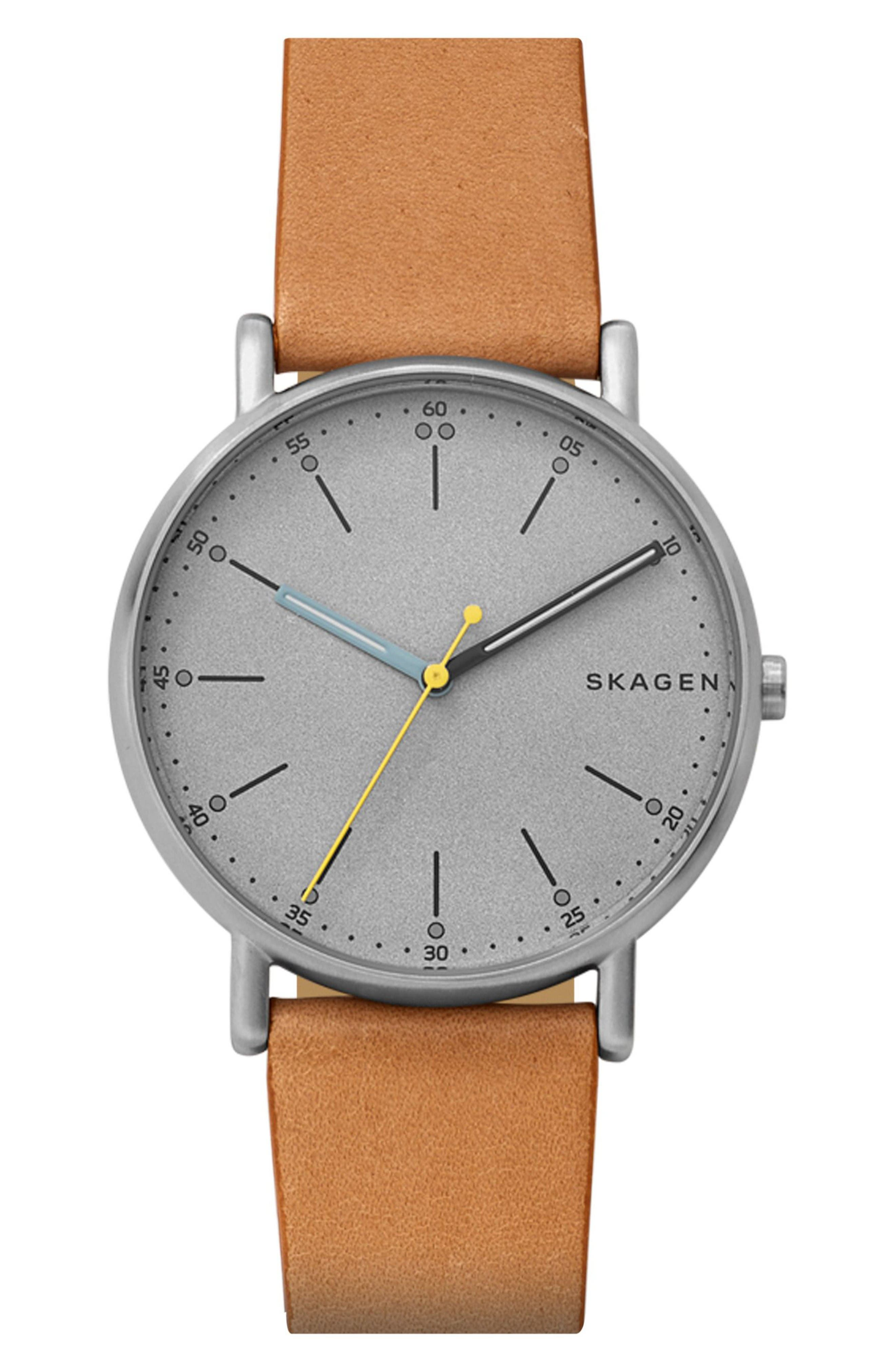 Signatur Leather Strap Watch, 40mm,                         Main,                         color, Brown/ Grey/ Silver