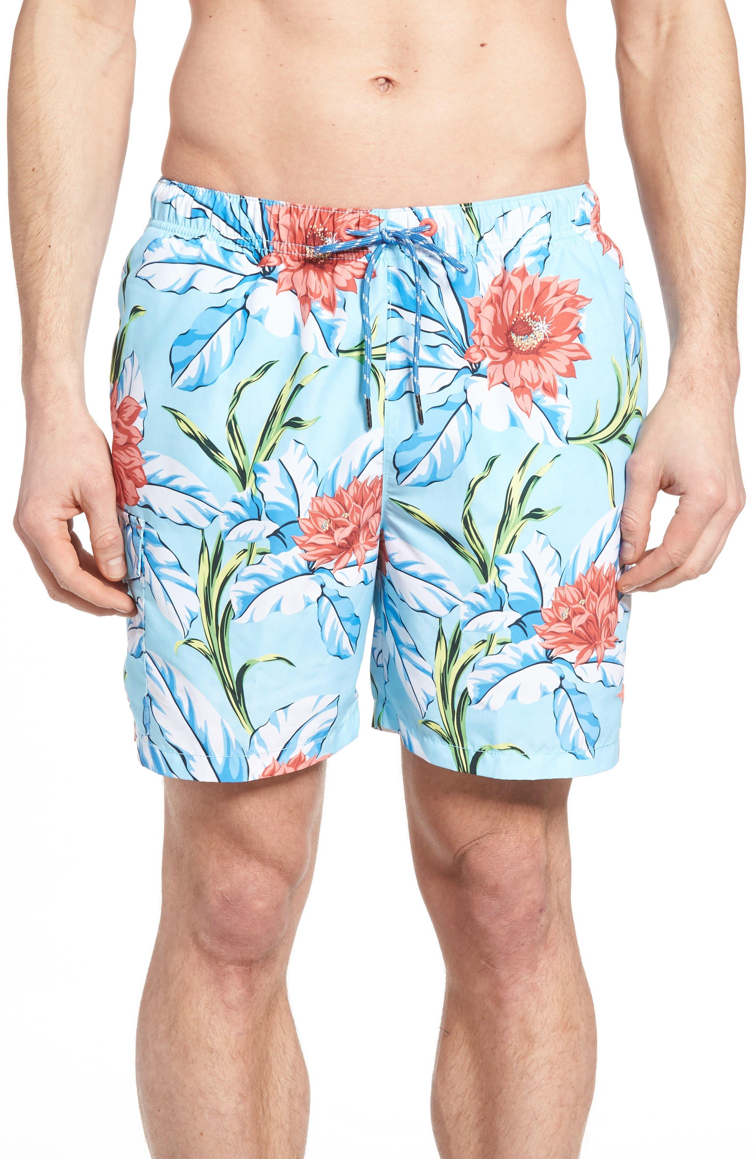 Naples Fira Floral Swim Trunks,                             Main thumbnail 1, color,                             Shasta