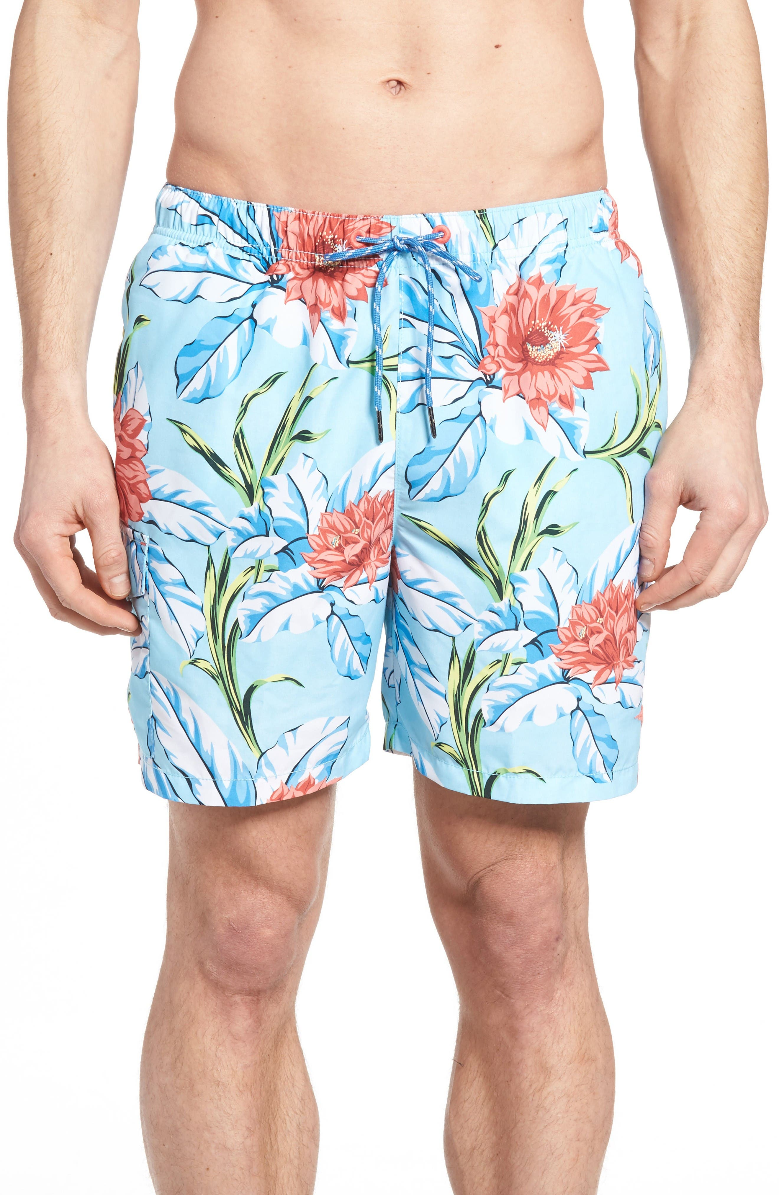 Naples Fira Floral Swim Trunks,                         Main,                         color, Shasta