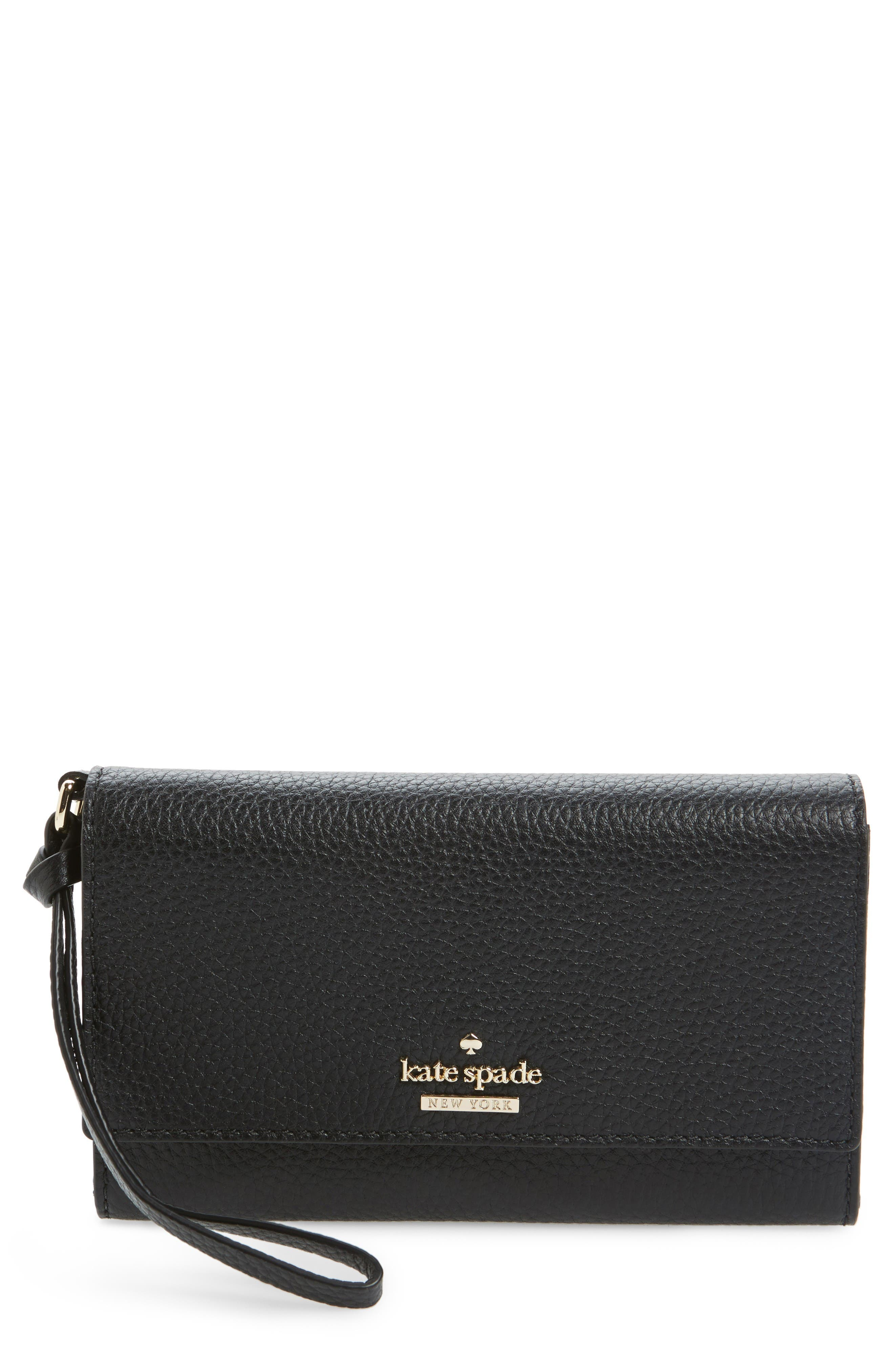 jackson street malorie leather wallet,                             Main thumbnail 1, color,                             Black