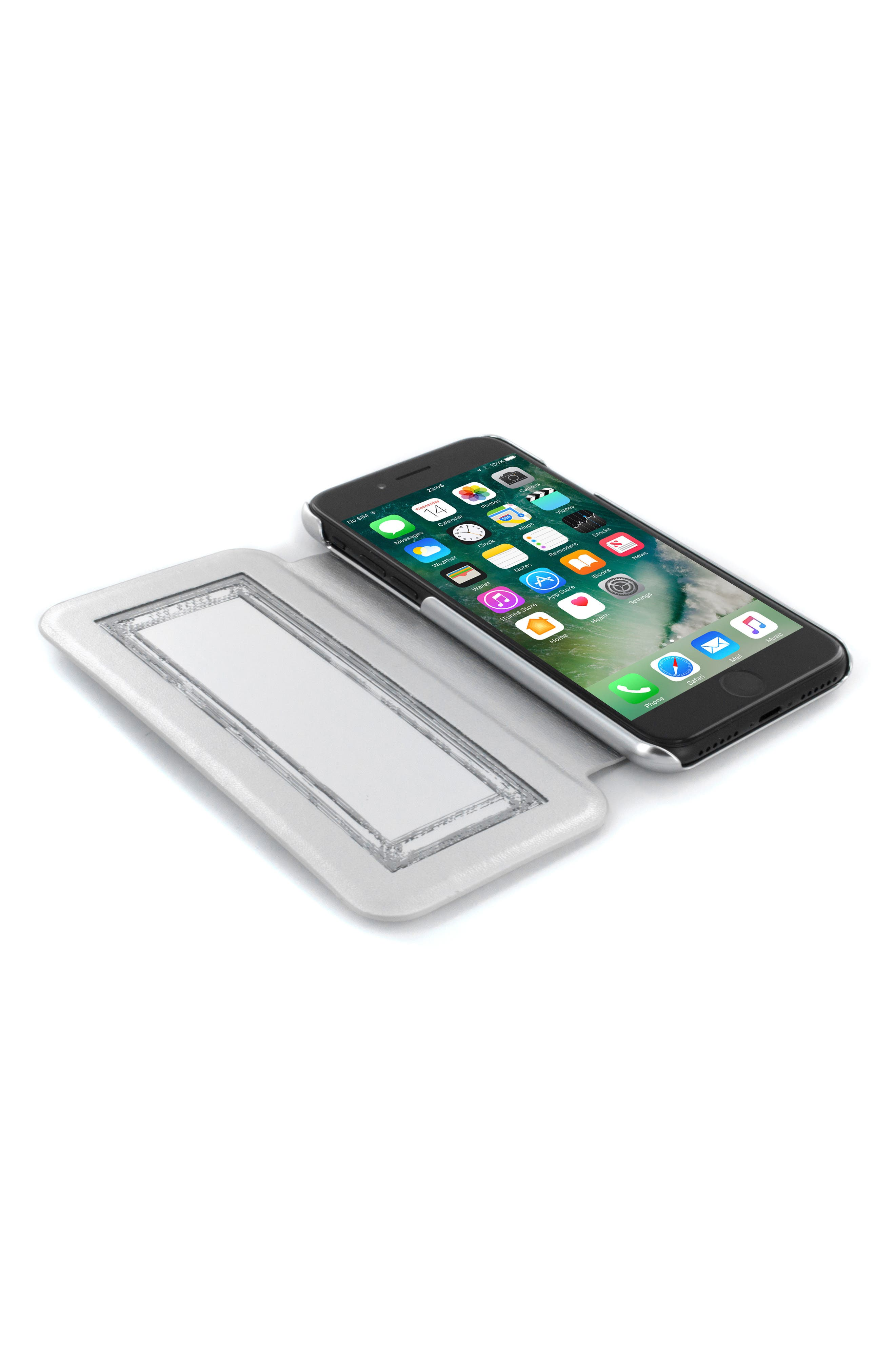 Glitsie iPhone 6/6s/7/8 Mirror Folio Case,                             Alternate thumbnail 3, color,                             Silver