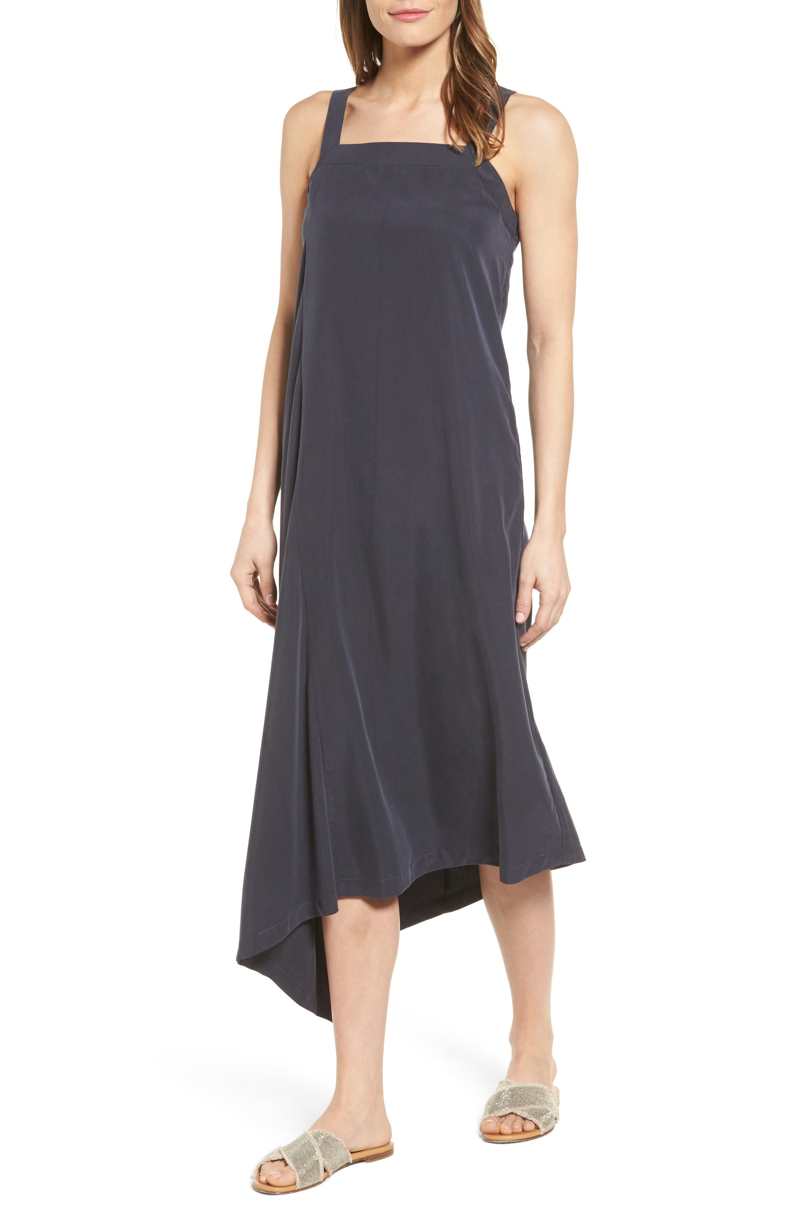 City Slicker Asymmetrical Midi Dress,                         Main,                         color, Washed Black