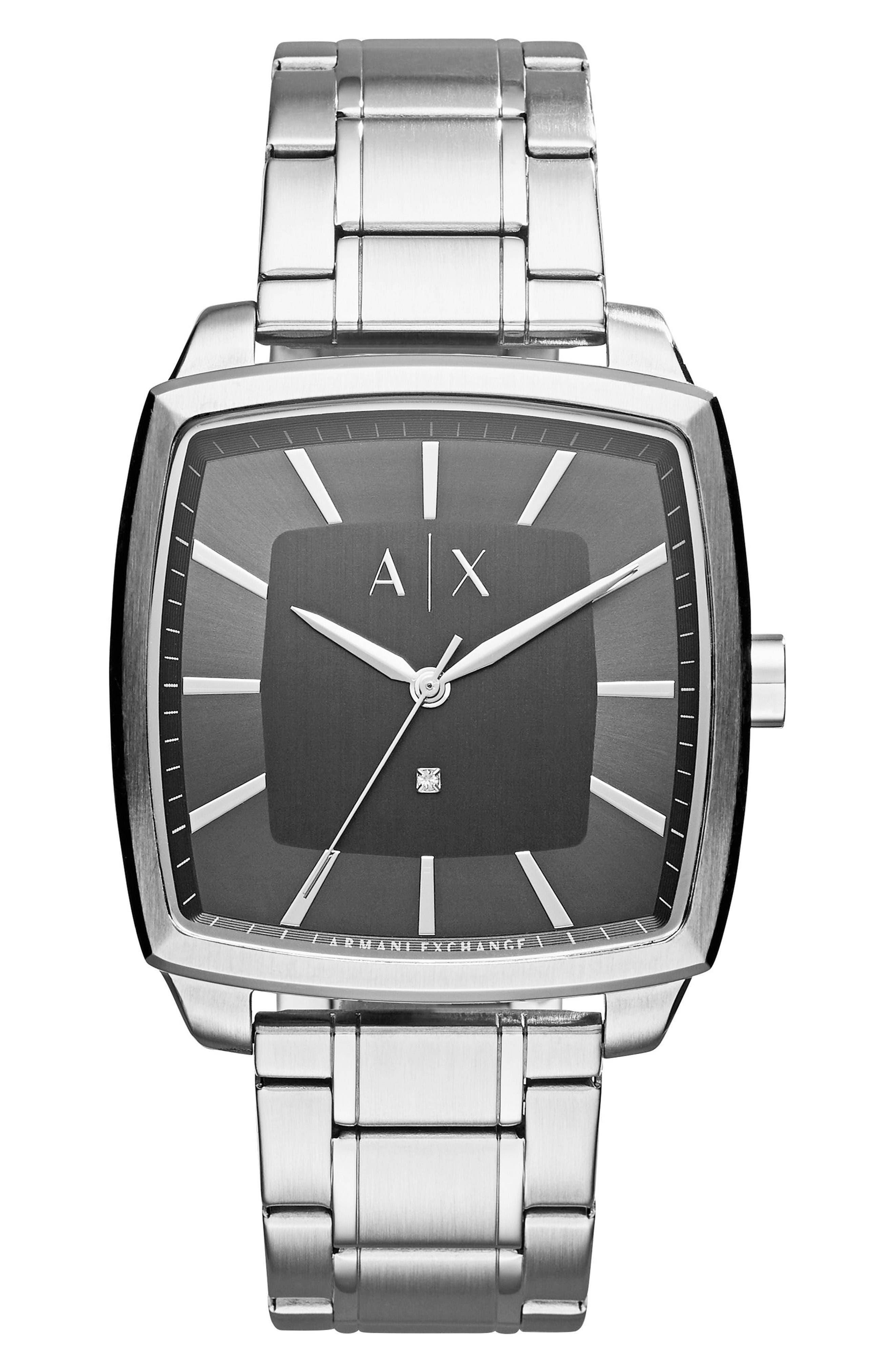 Square Bracelet Watch, 40mm,                         Main,                         color, Black/ Grey