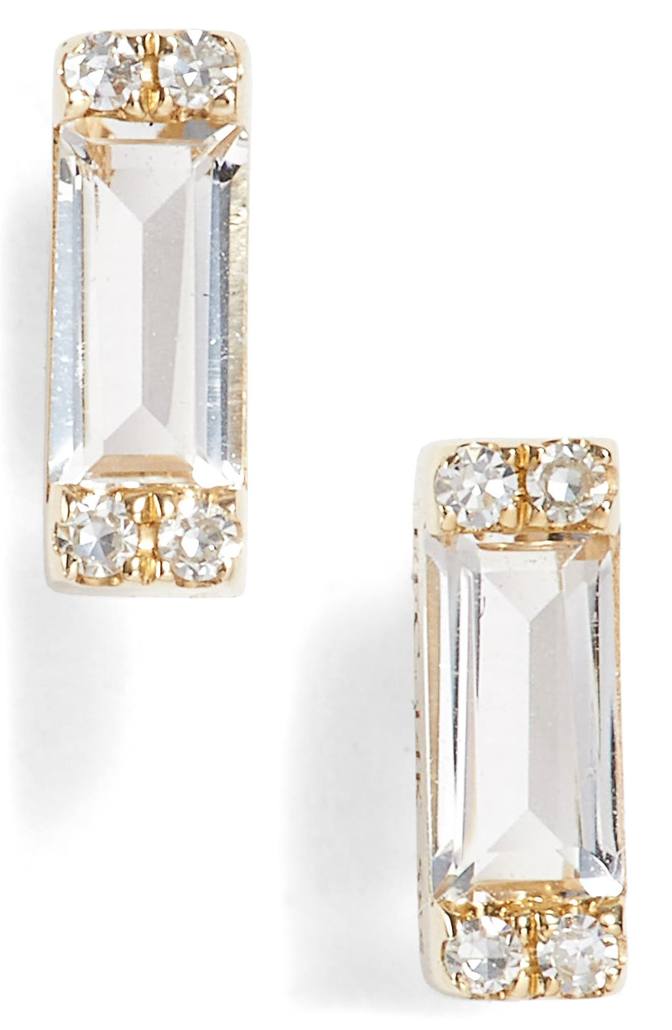 EF COLLECTION Diamond & Topaz Baguette Stud Earrings