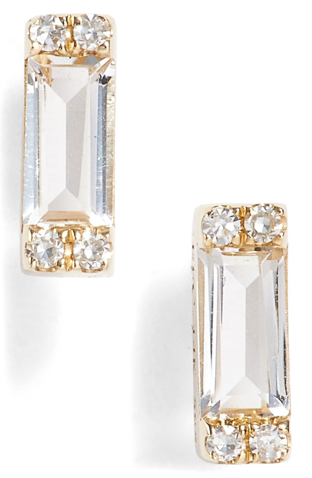Diamond & Topaz Baguette Stud Earrings,                         Main,                         color, Yellow Gold