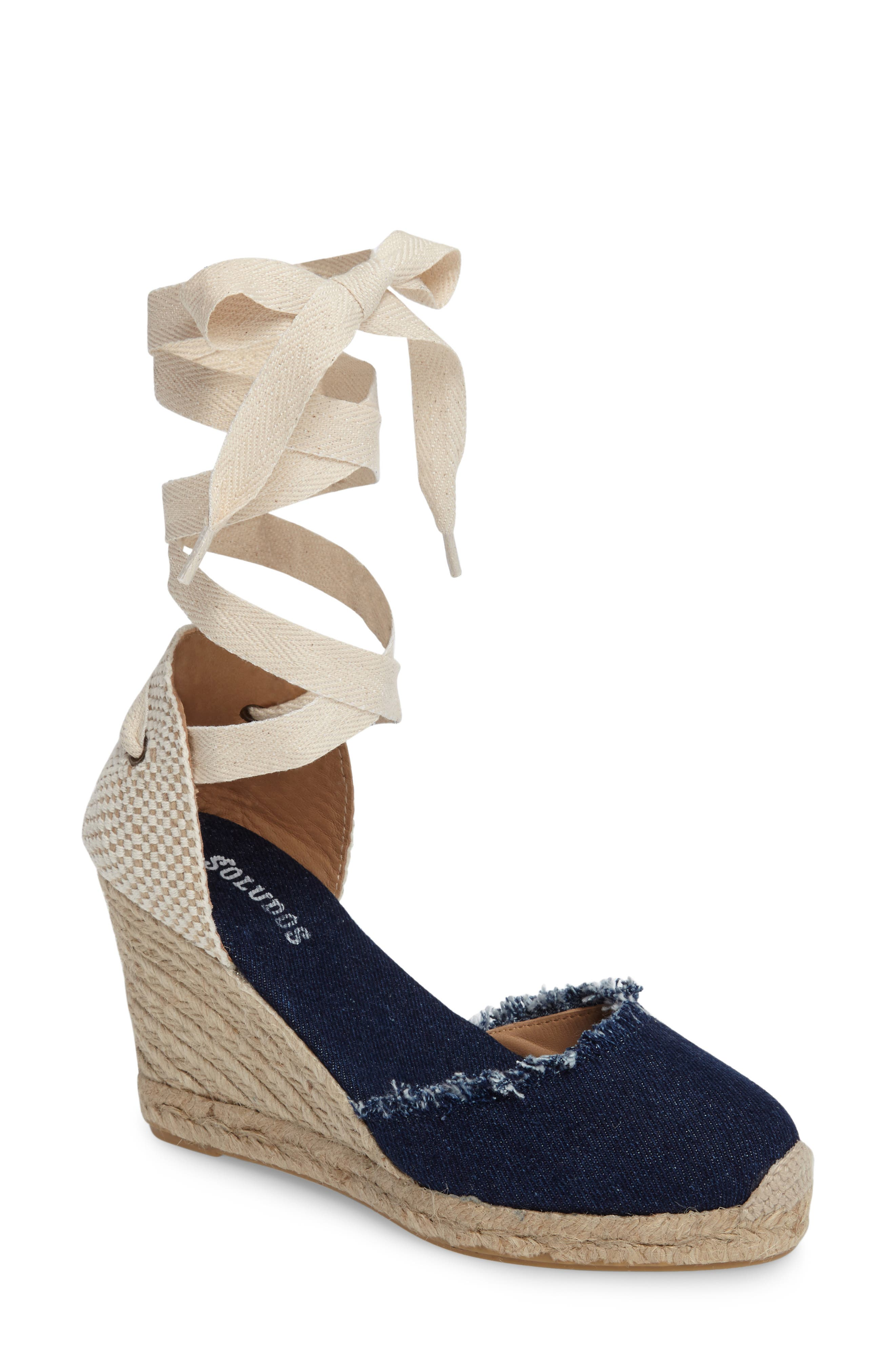 Wedge Lace-Up Espadrille Sandal,                             Main thumbnail 1, color,                             Dark Denim