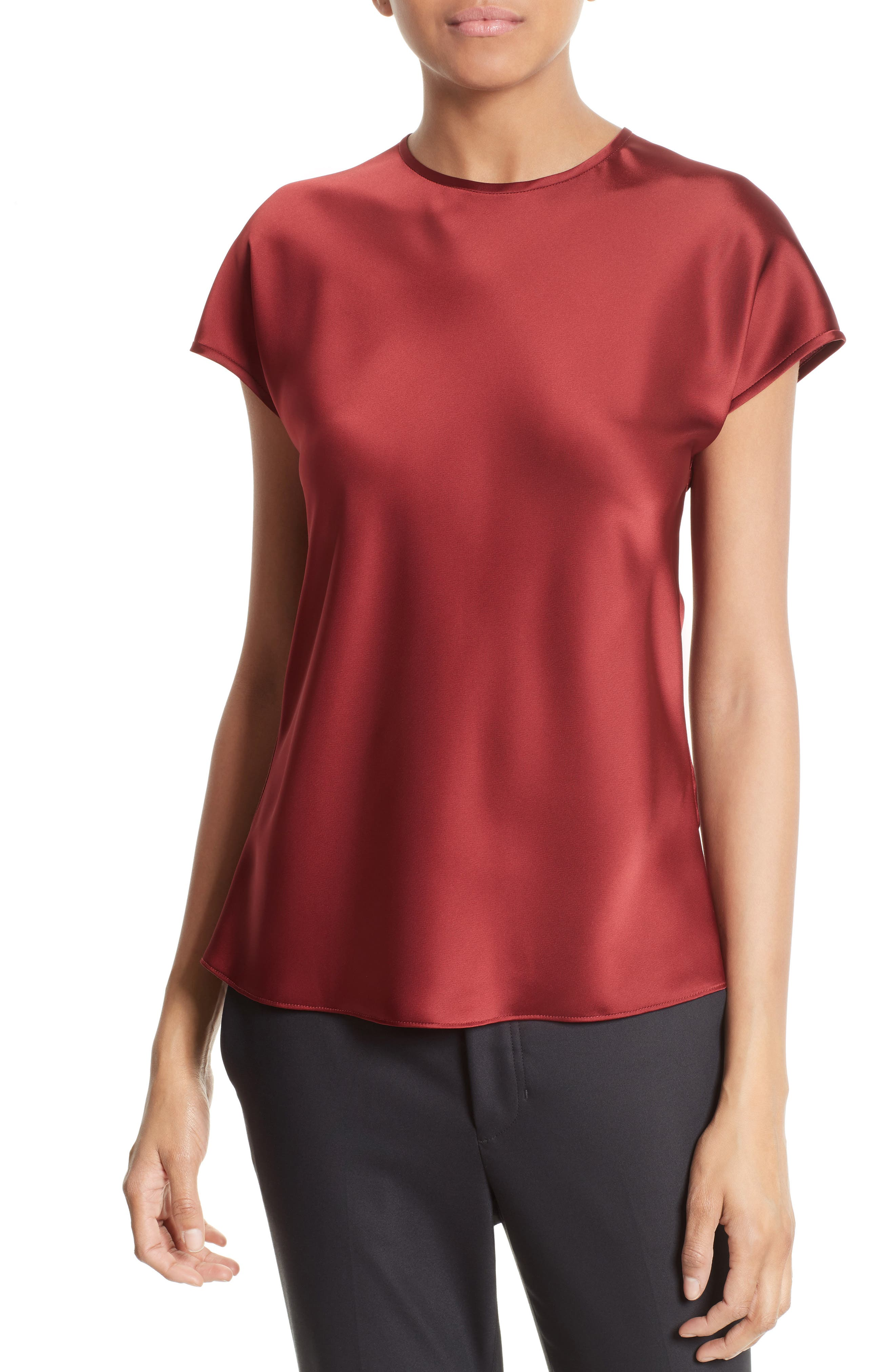 Satin Top,                         Main,                         color, Ruby