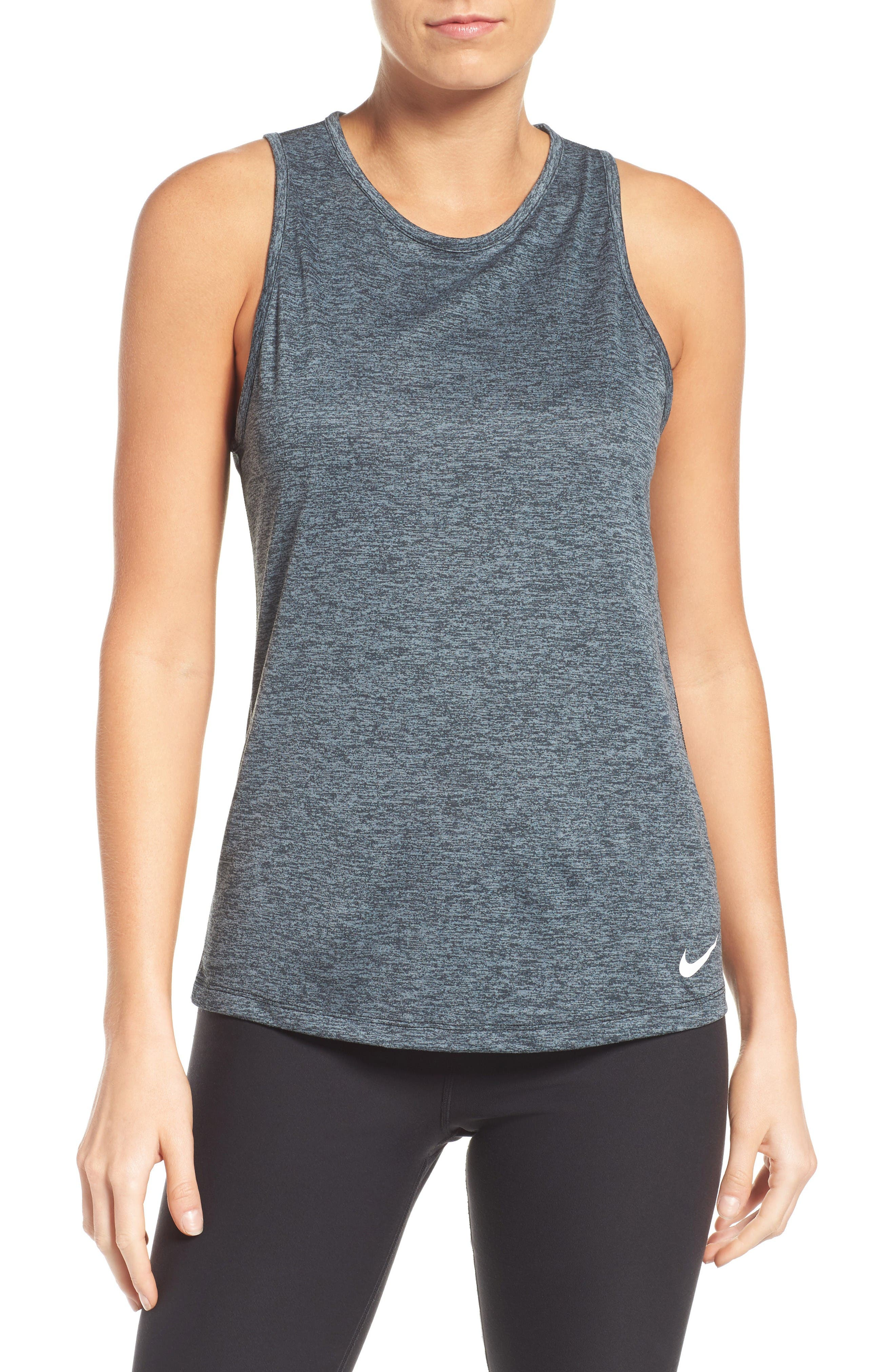 Dry Training Tank,                         Main,                         color, Black/ Heather/ Cool Grey