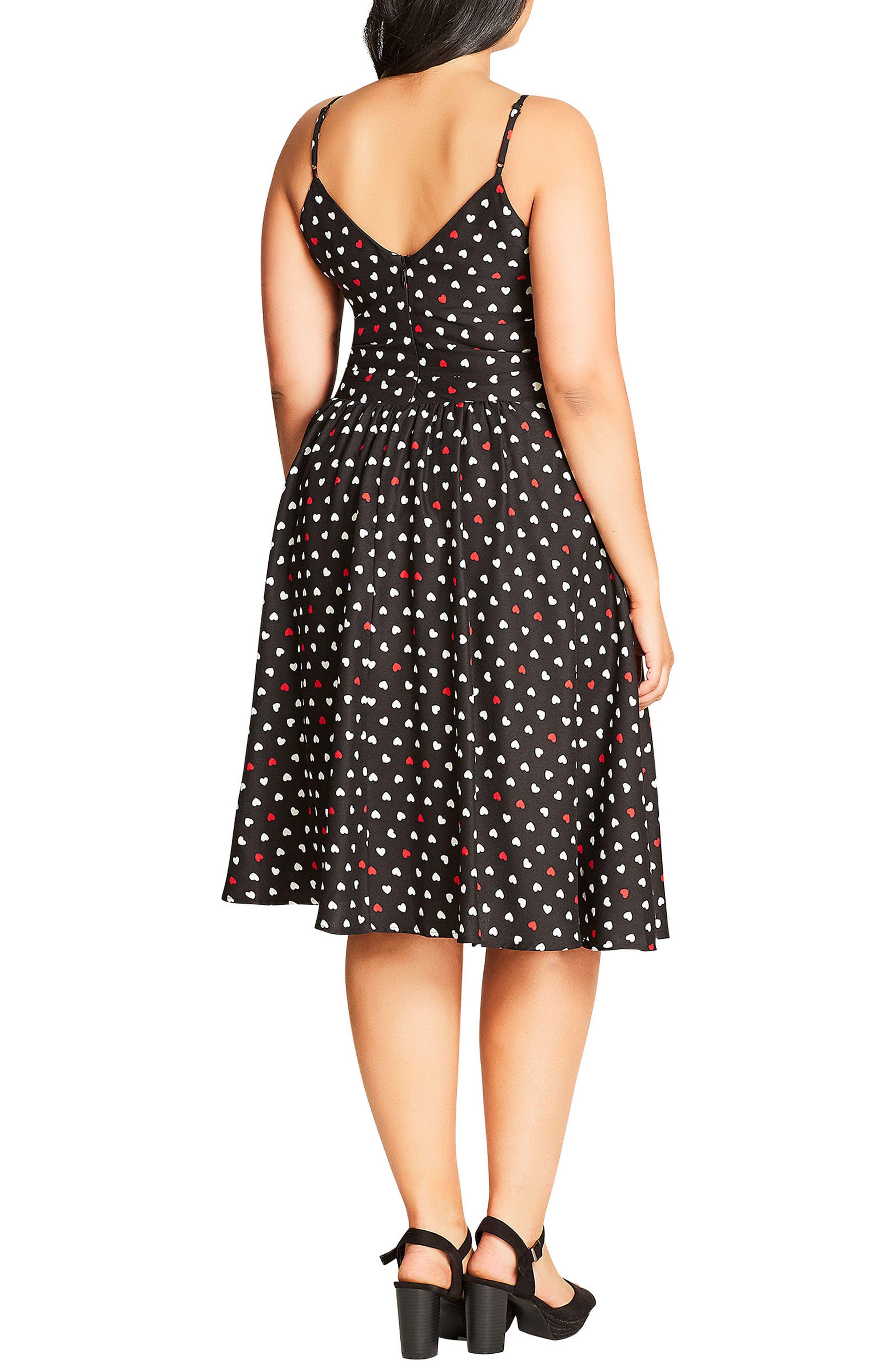 Cute Girl Fit & Flare Dress,                             Alternate thumbnail 2, color,                             Black/ Black