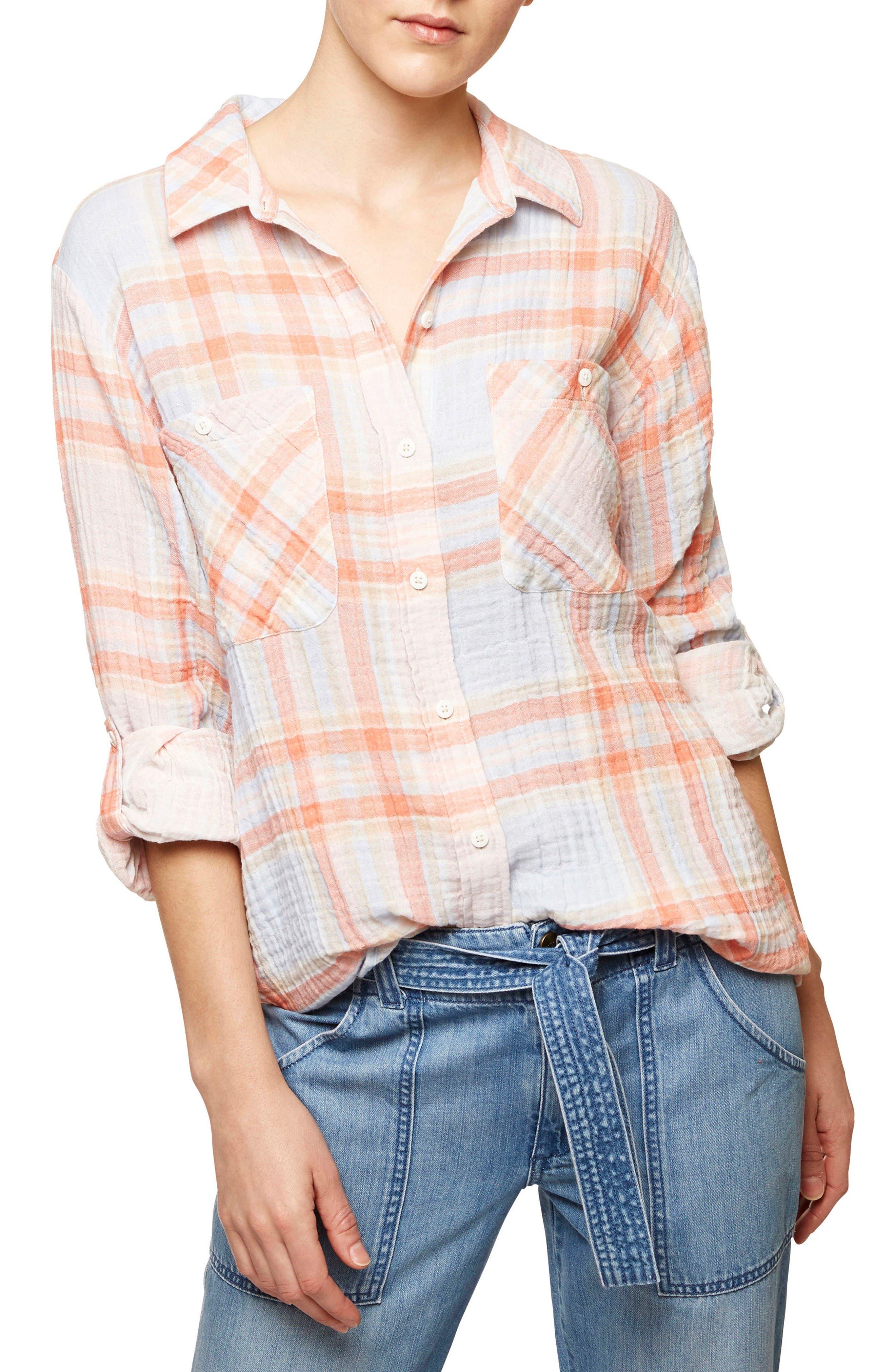 SANCTUARY Steady Boyfriend Plaid Shirt
