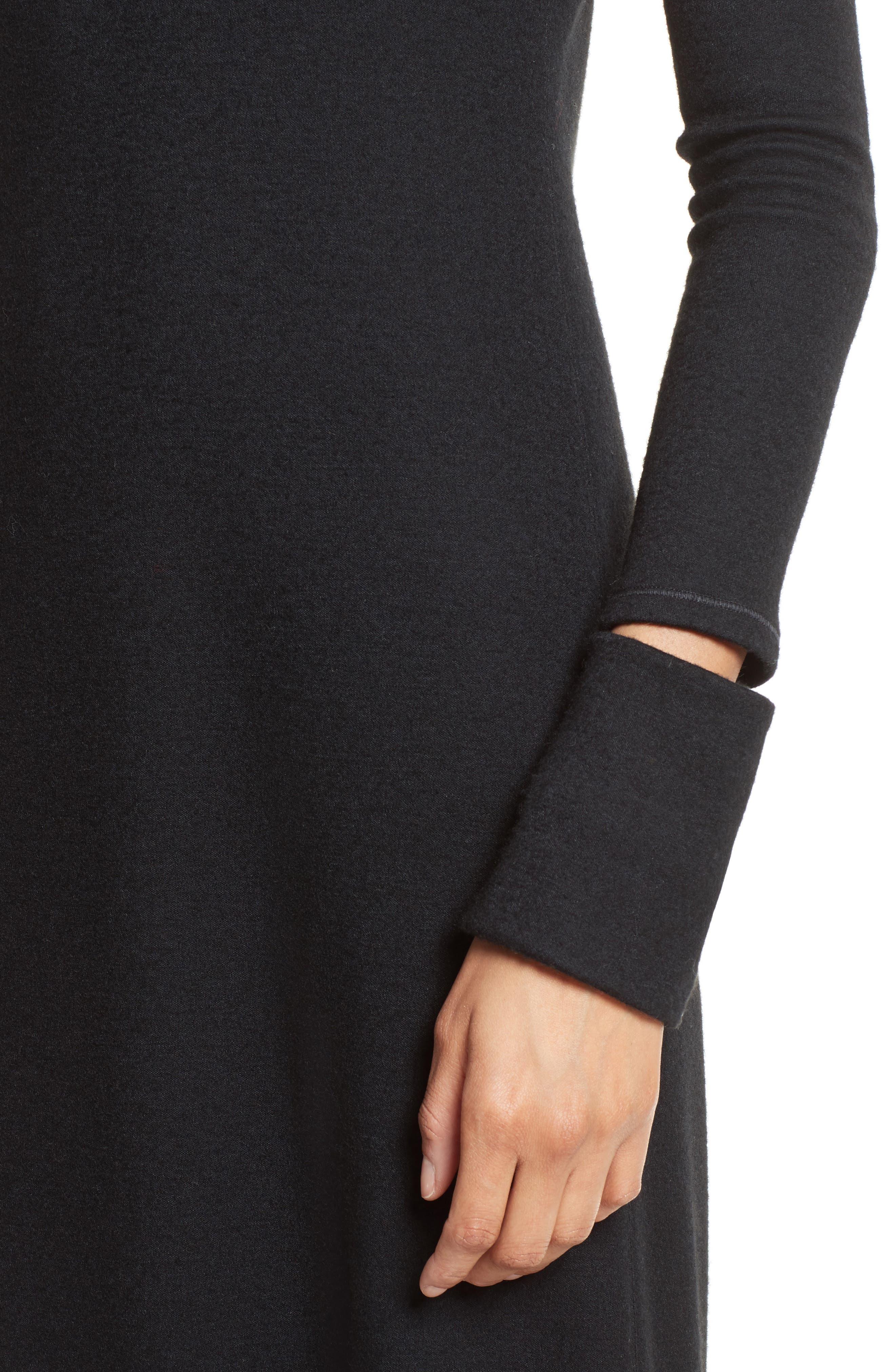 Slash Cuff Wool Blend Dress,                             Alternate thumbnail 4, color,                             Black