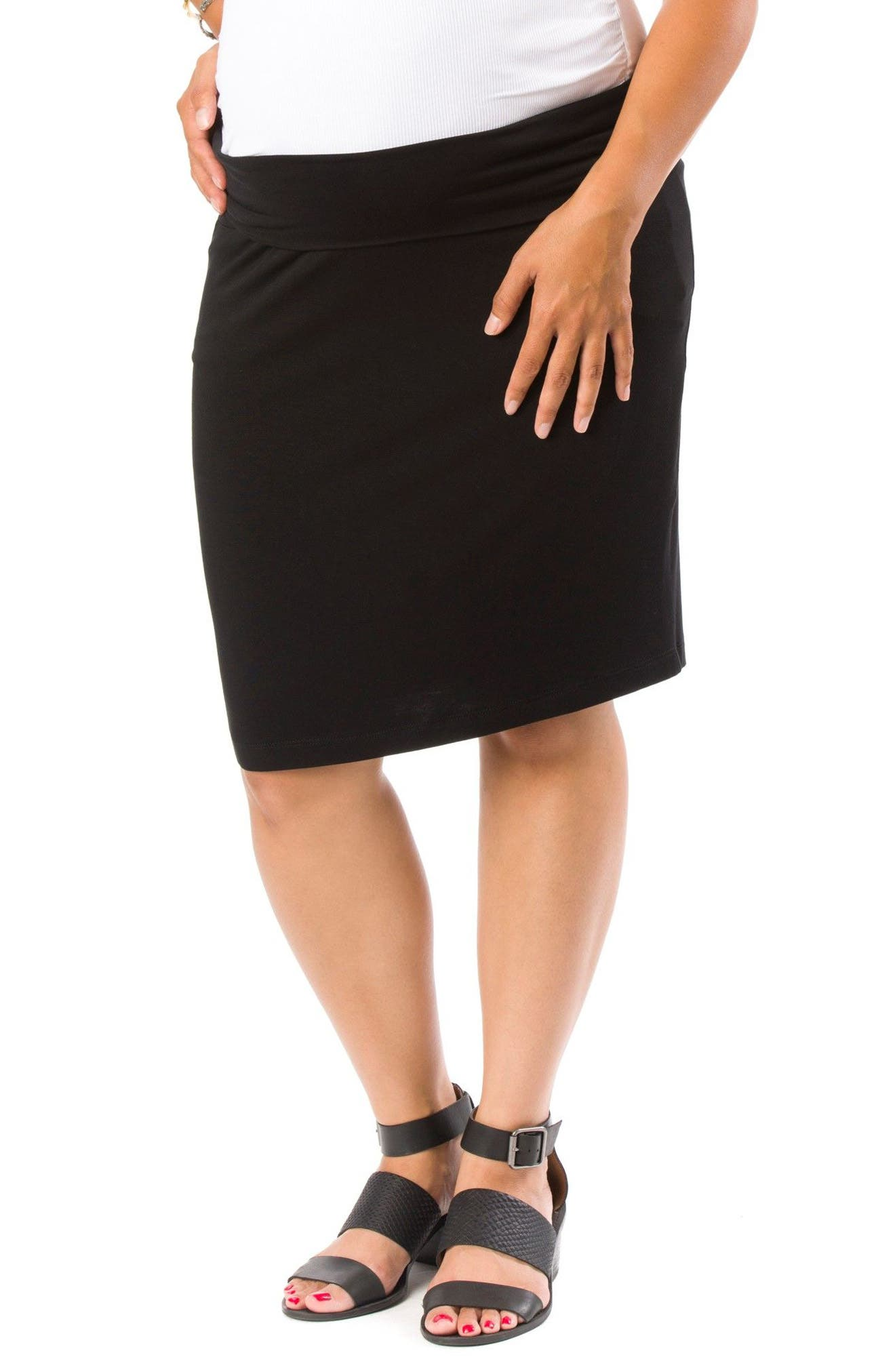 Cleo Maternity Pencil Skirt,                         Main,                         color, Black