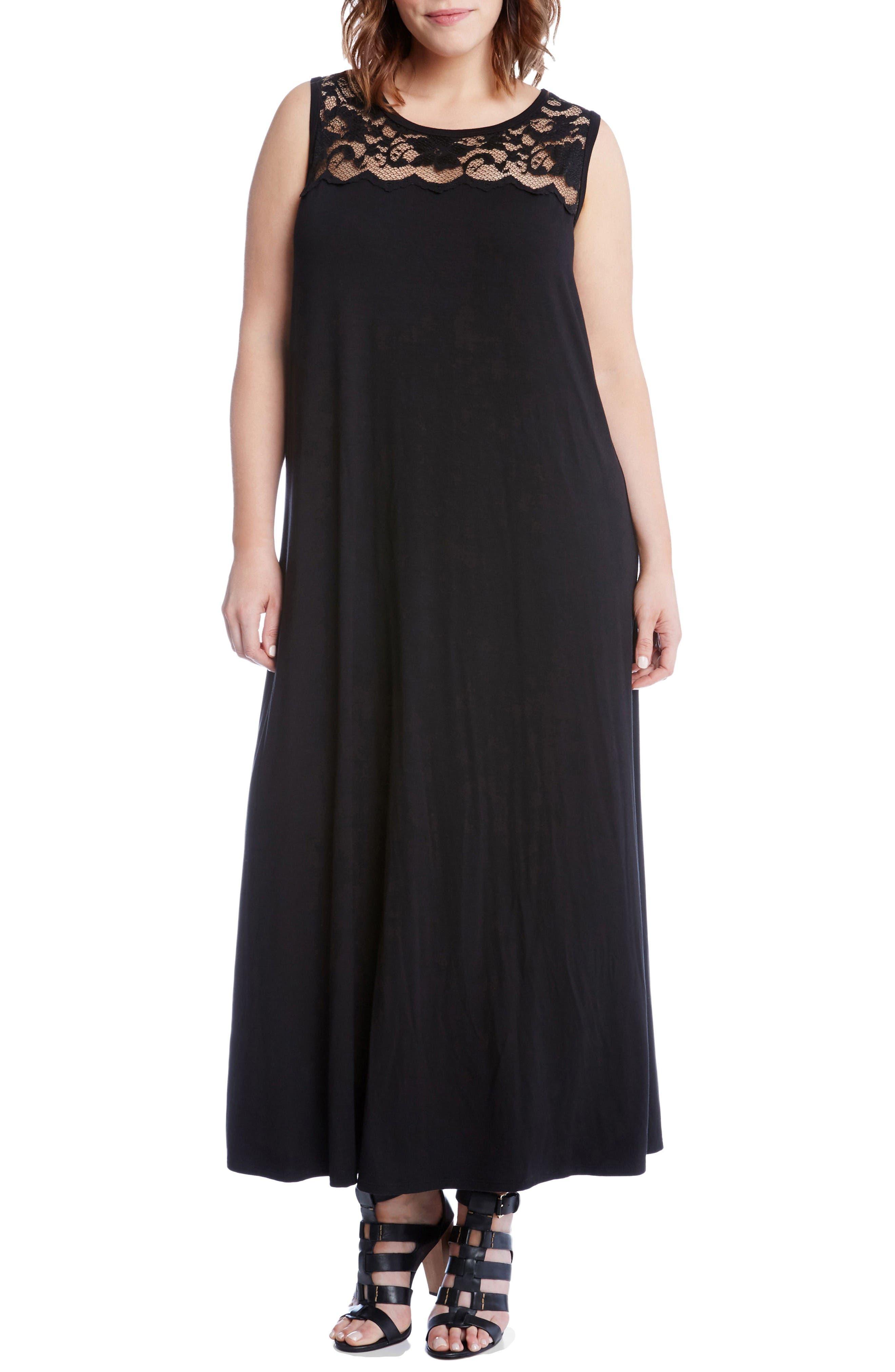 Karen Kane Lace Yoke Maxi Dress (Plus Size)