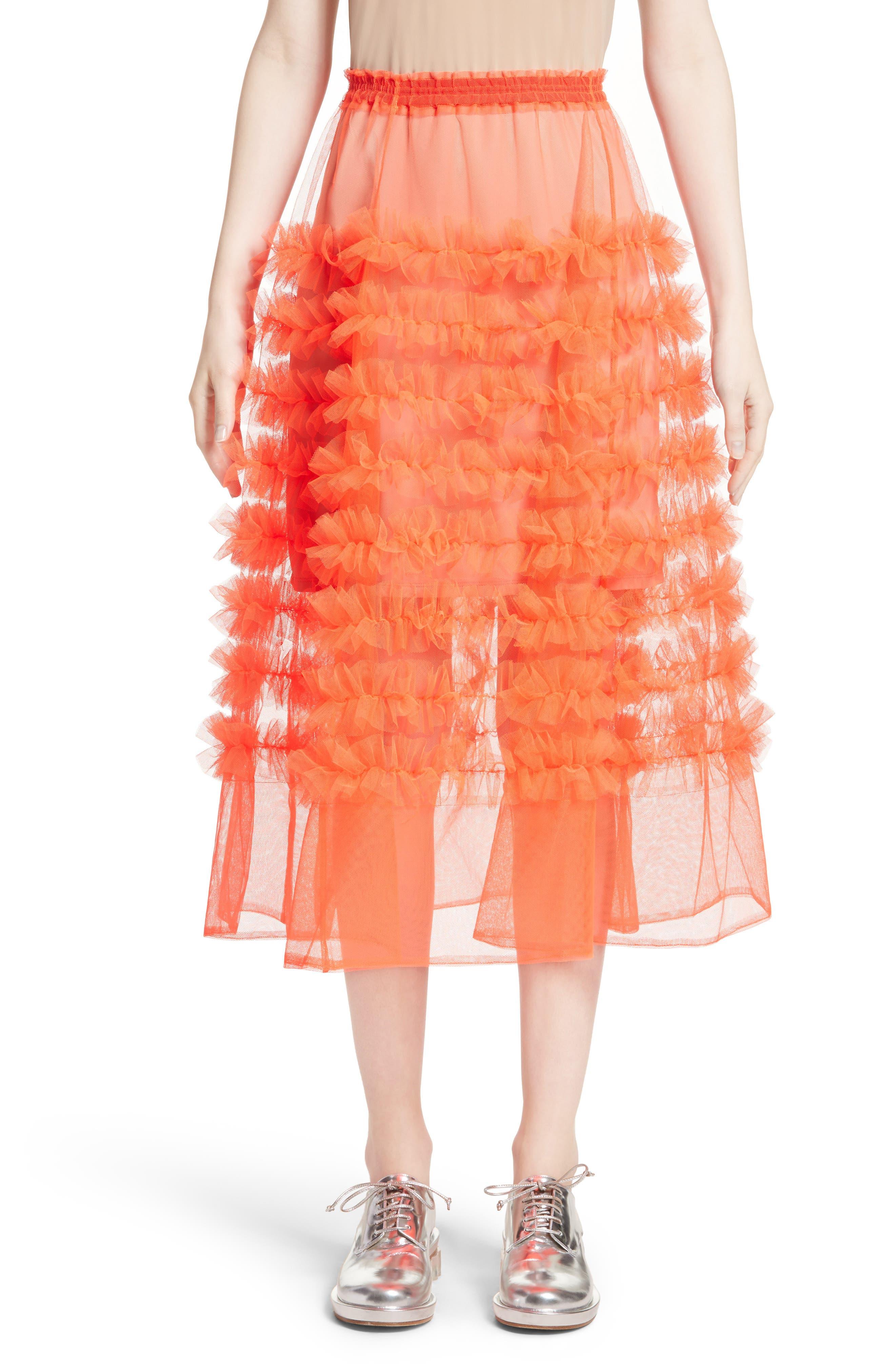 Melanie Tulle Skirt,                         Main,                         color, Neon Tangerine