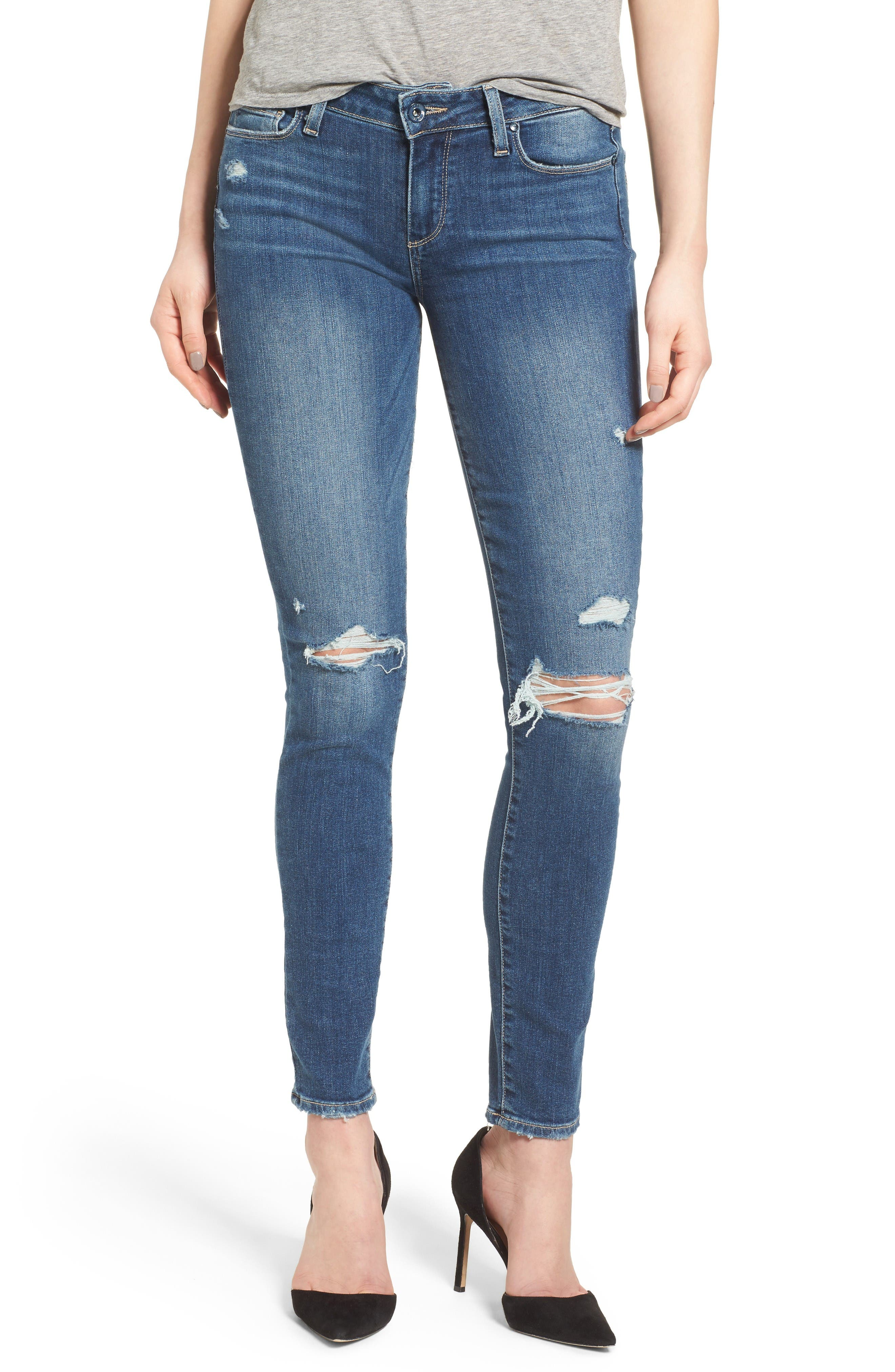 Alternate Image 1 Selected - PAIGE Verdugo Ripped Ultra Skinny Jeans (Destructed Blue)