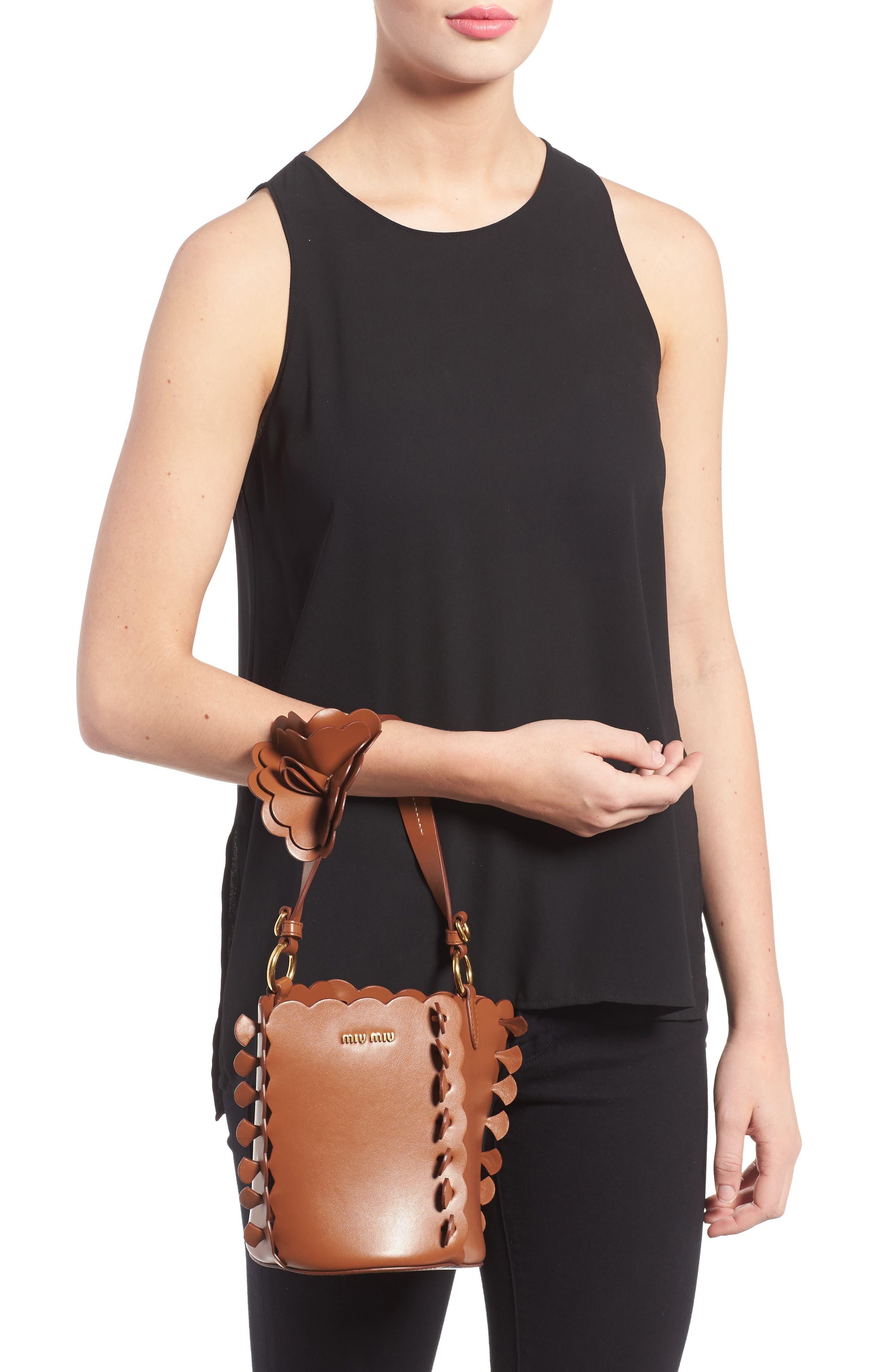 Leather Bucket Bag,                             Alternate thumbnail 2, color,                             Brandy