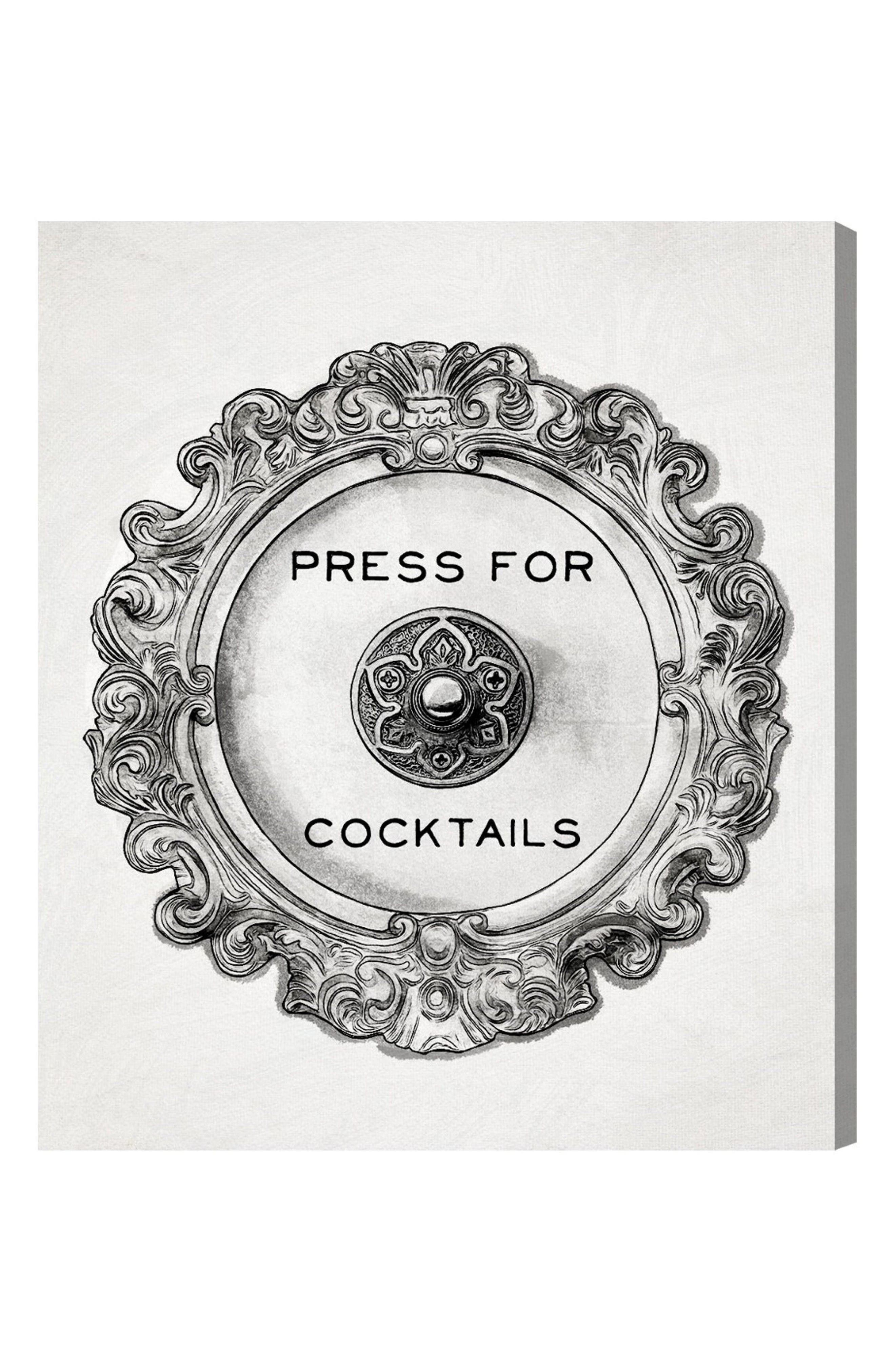 Press for Cocktails Canvas Wall Art,                         Main,                         color, White