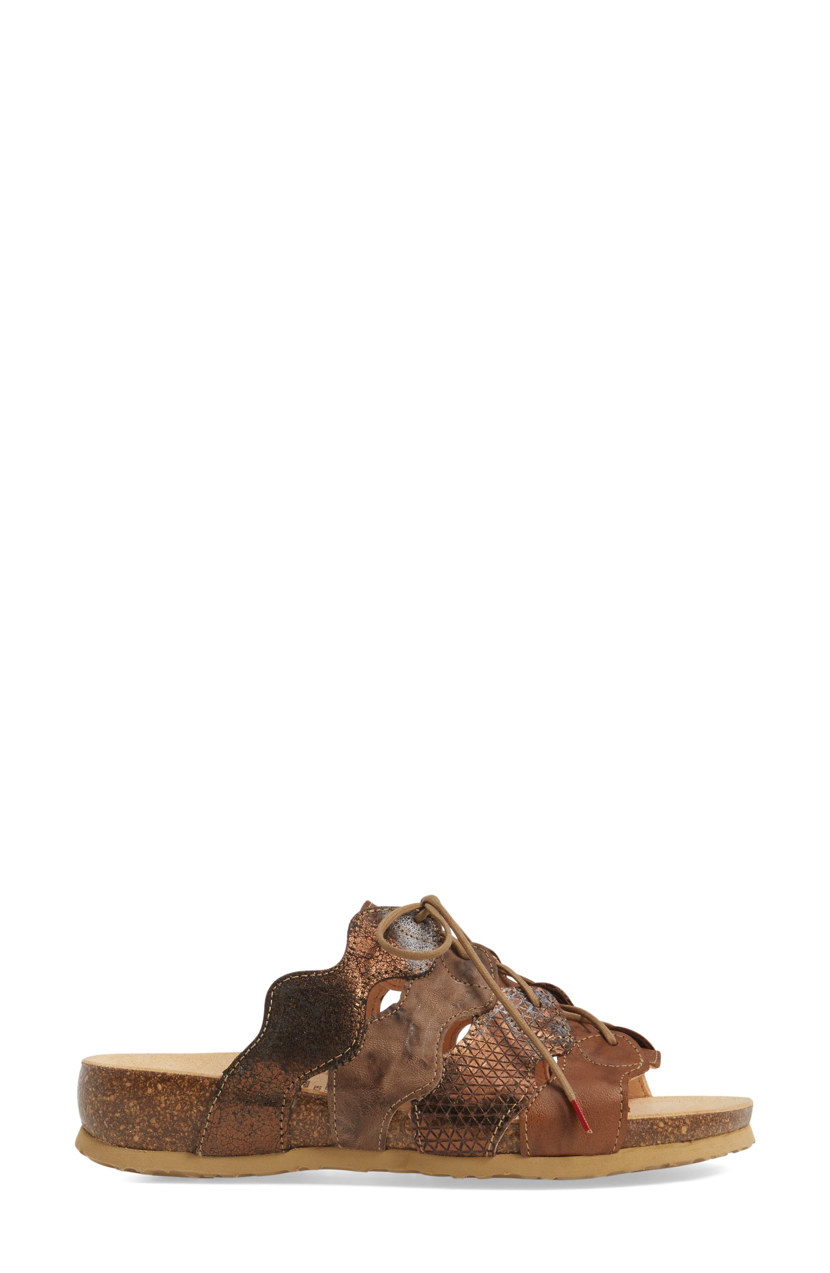 Julia Sandal,                             Alternate thumbnail 3, color,                             Lion Brown Leather