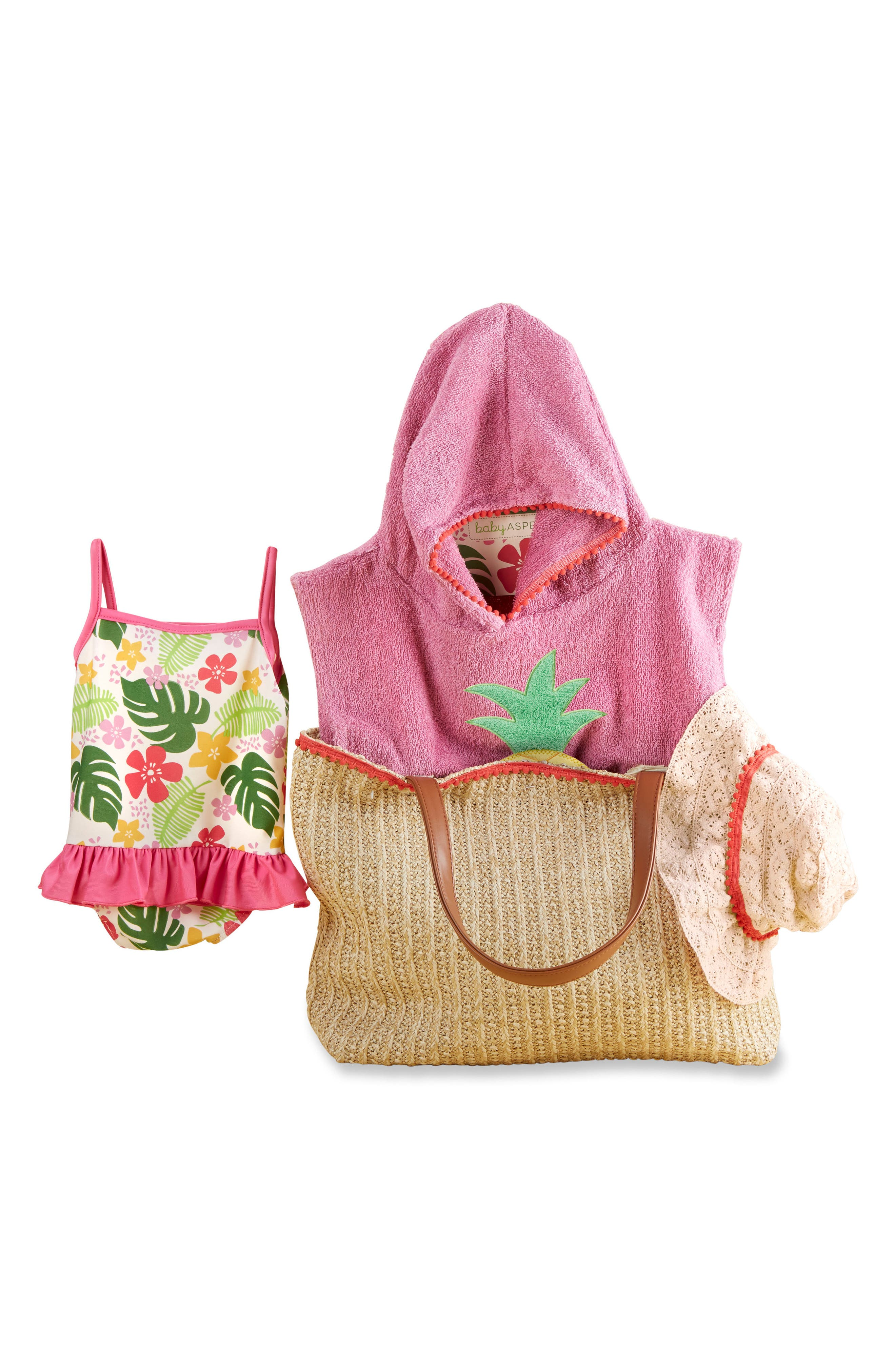 Baby Aspen Tropical Hooded Towel, Swimsuit, Sun Hat & Tote Set (Baby)