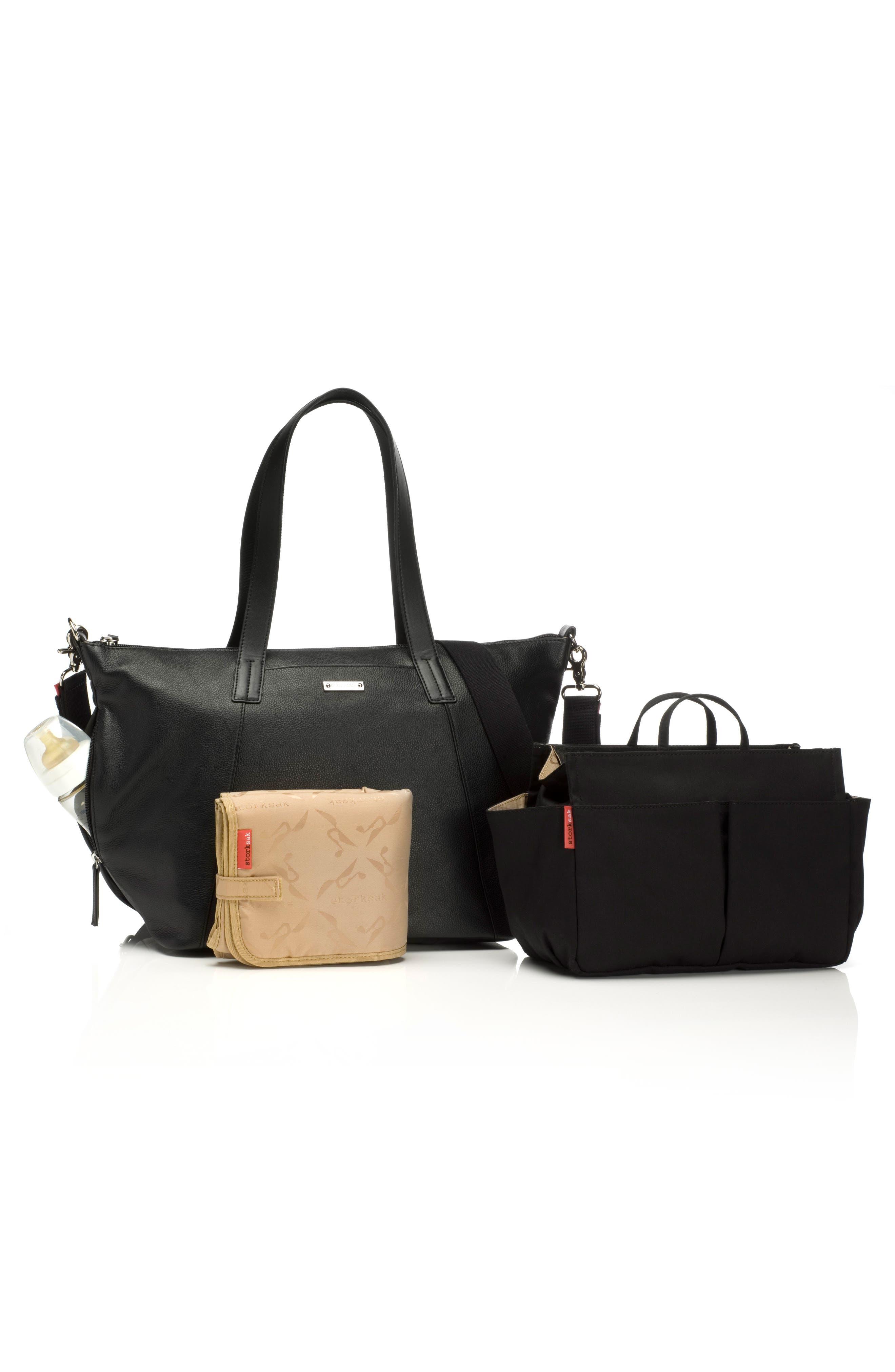 NOA Leather Diaper Bag,                             Alternate thumbnail 2, color,                             Black
