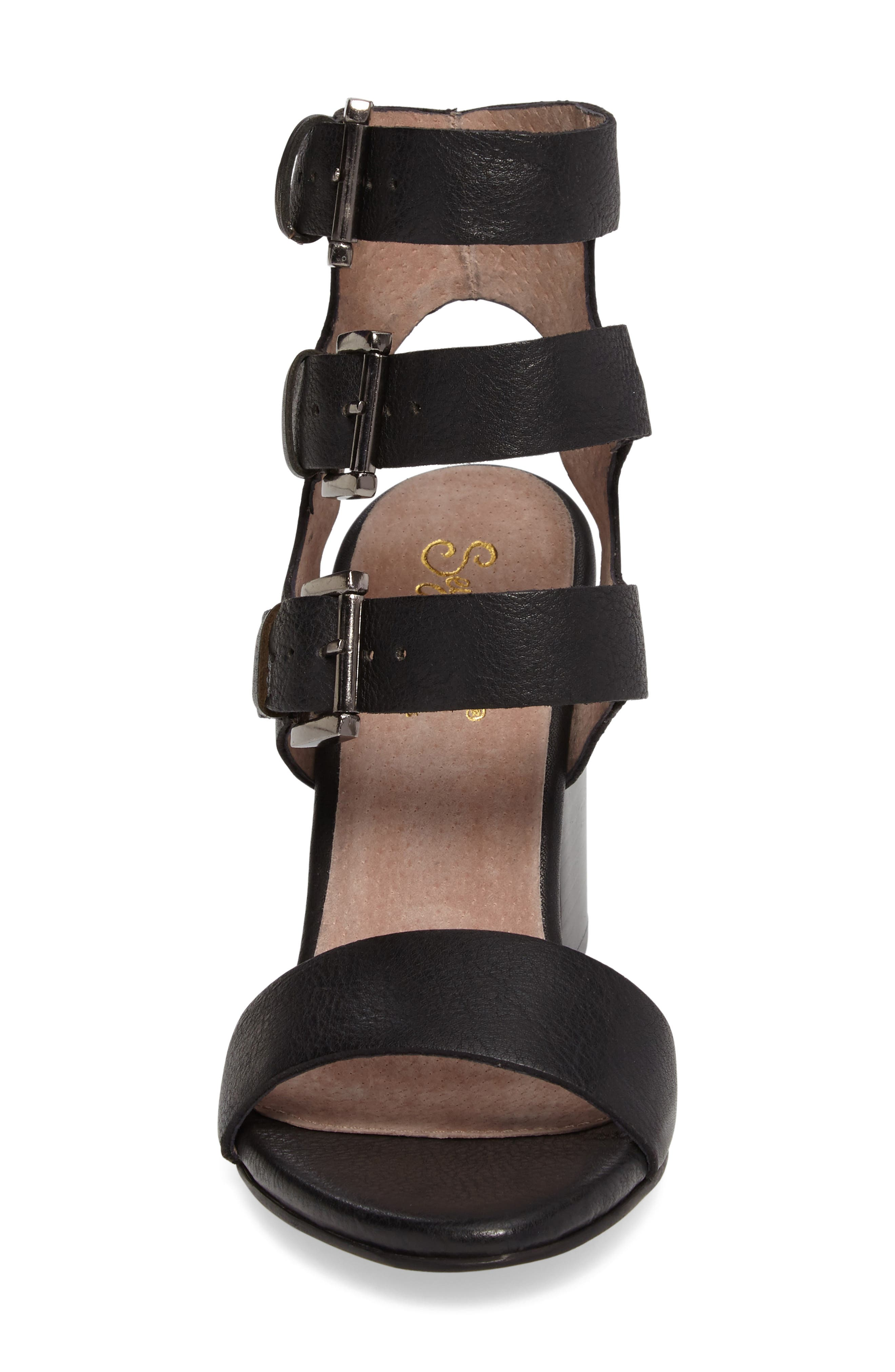 Dilly Dally Sandal,                             Alternate thumbnail 4, color,                             Black Leather