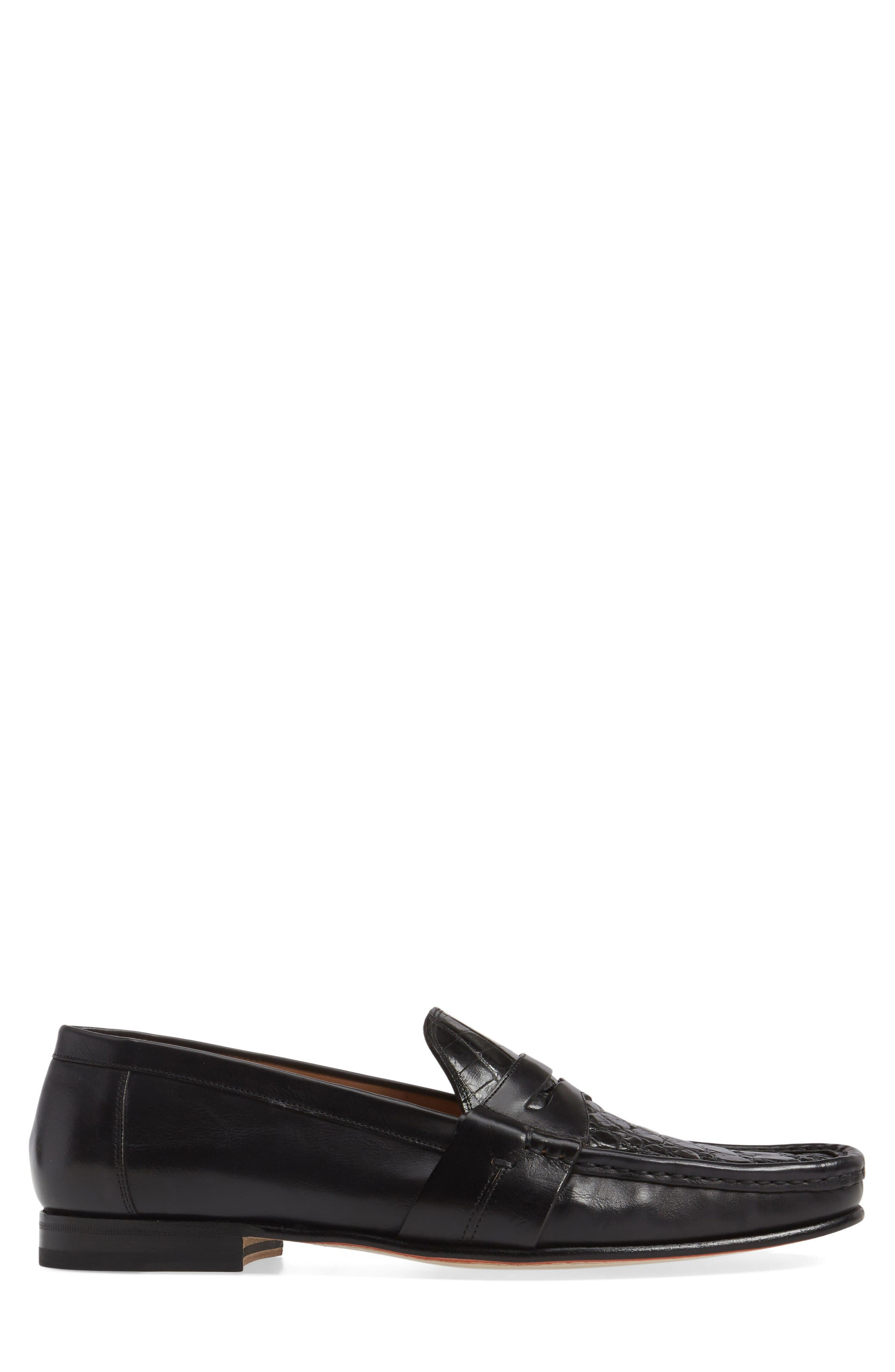 Marconi Penny Loafer,                             Alternate thumbnail 3, color,                             Black Leather