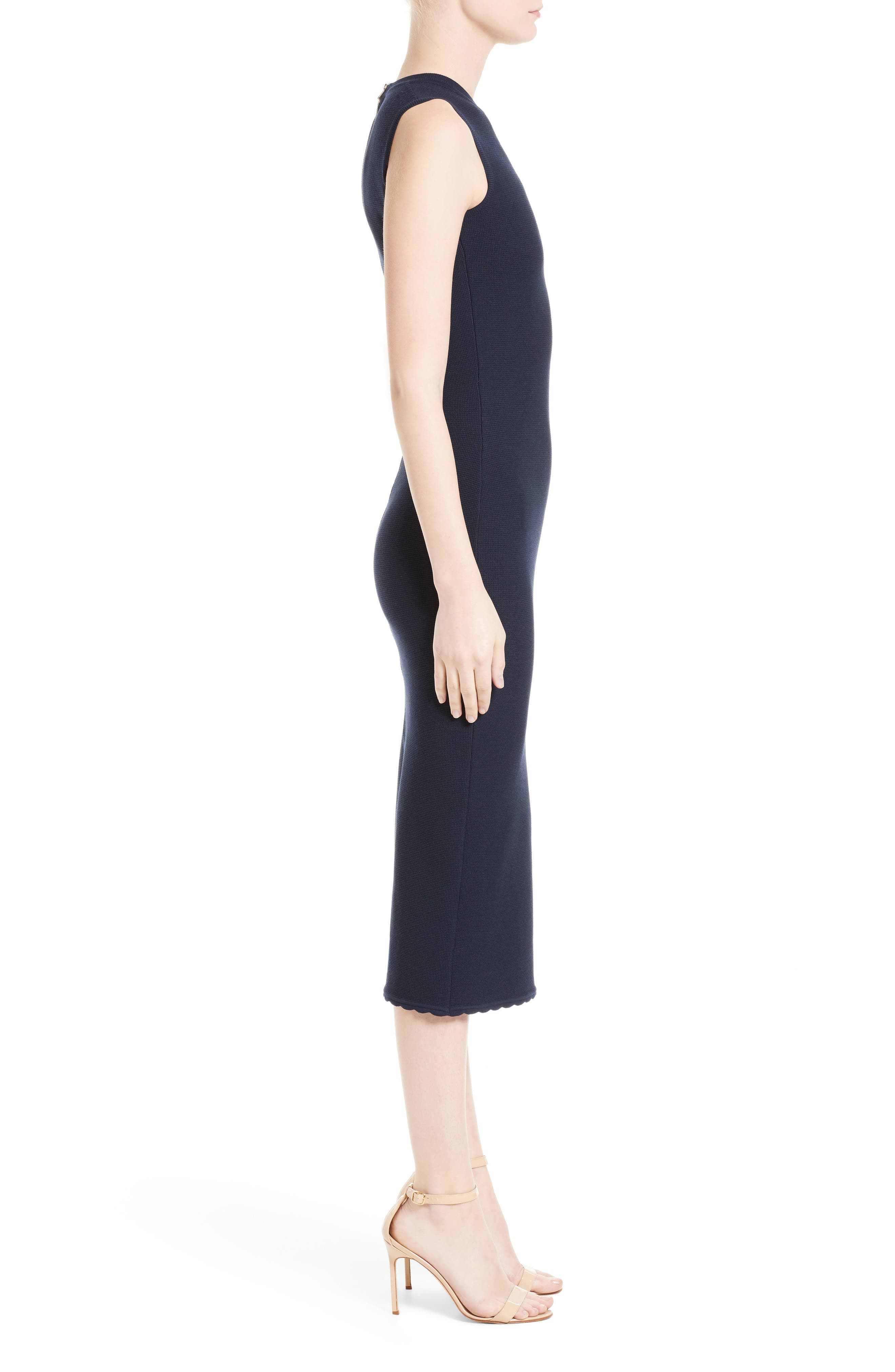 Wool Blend Knit Scallop Dress,                             Alternate thumbnail 3, color,                             Navy