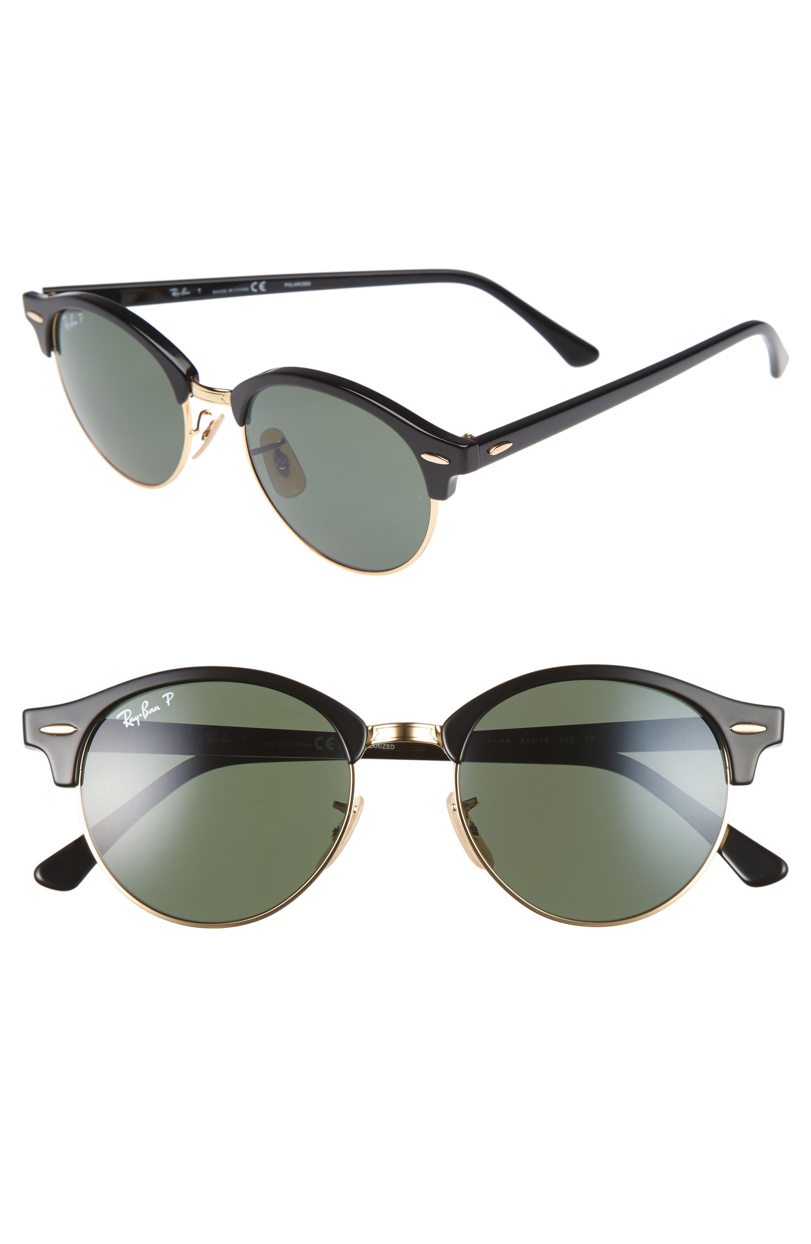 Clubround 51mm Polarized Sunglasses,                         Main,                         color, Black/ Green