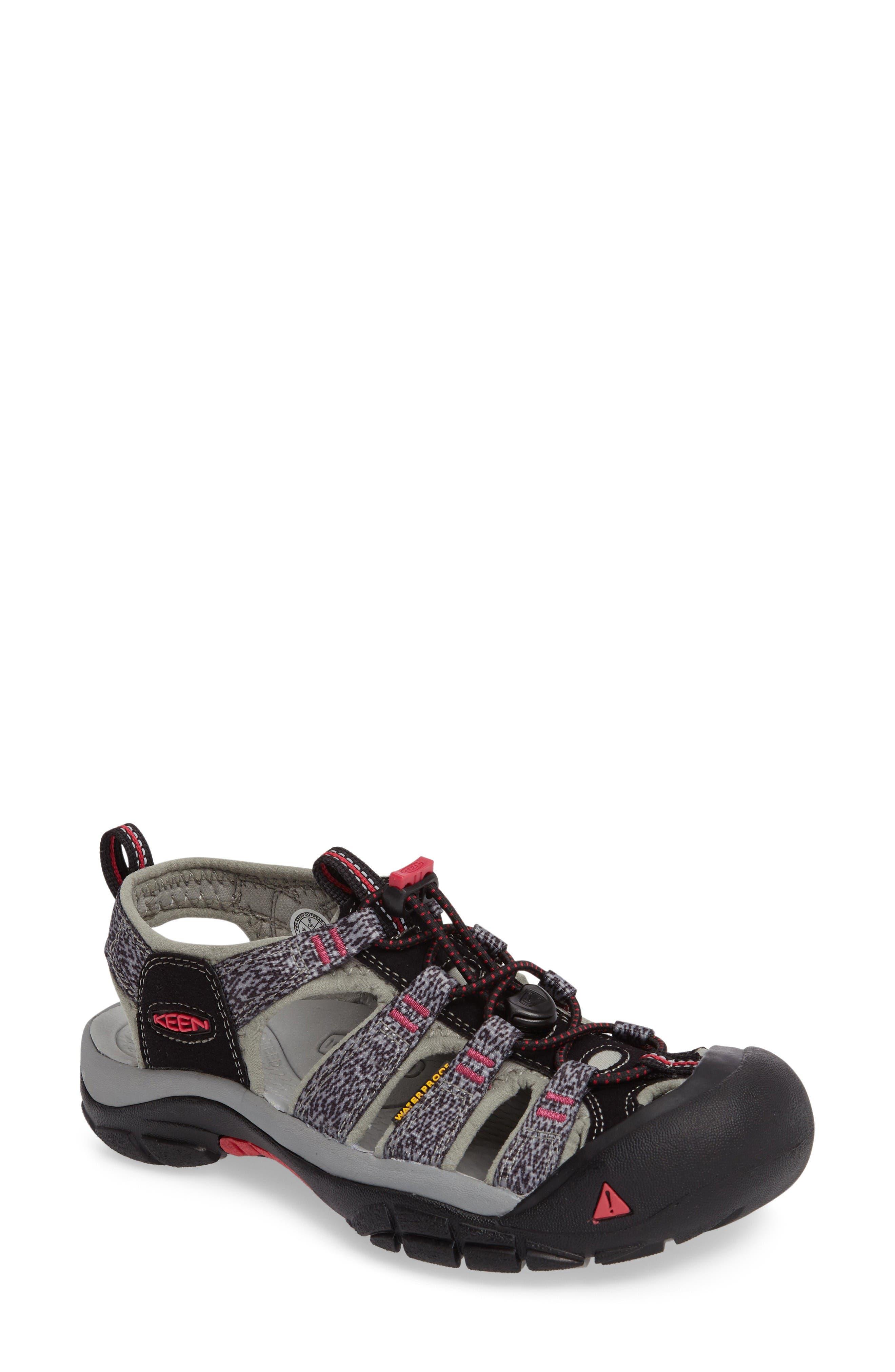 'Newport H2' Sandal,                             Main thumbnail 1, color,                             Black/ Bright Rose Fabric
