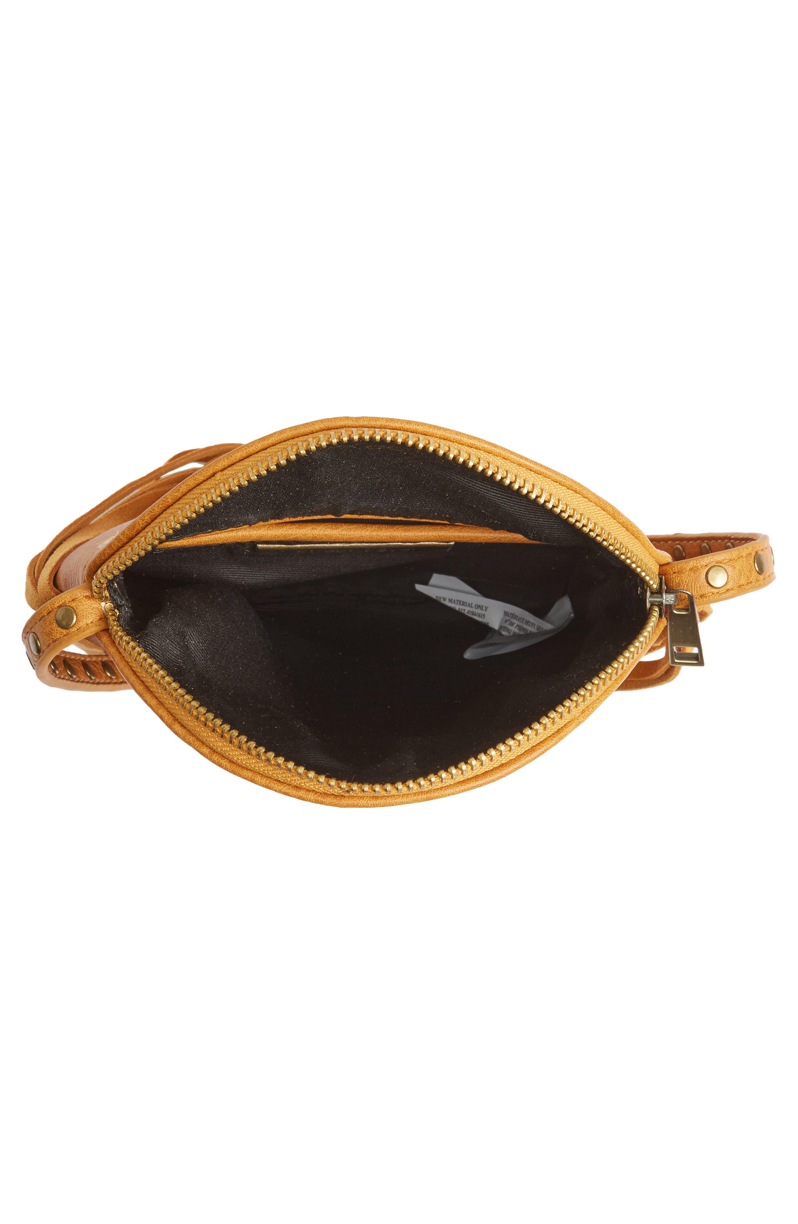 Alternate Image 4  - Street Level Fringe Faux Leather Round Crossbody Bag