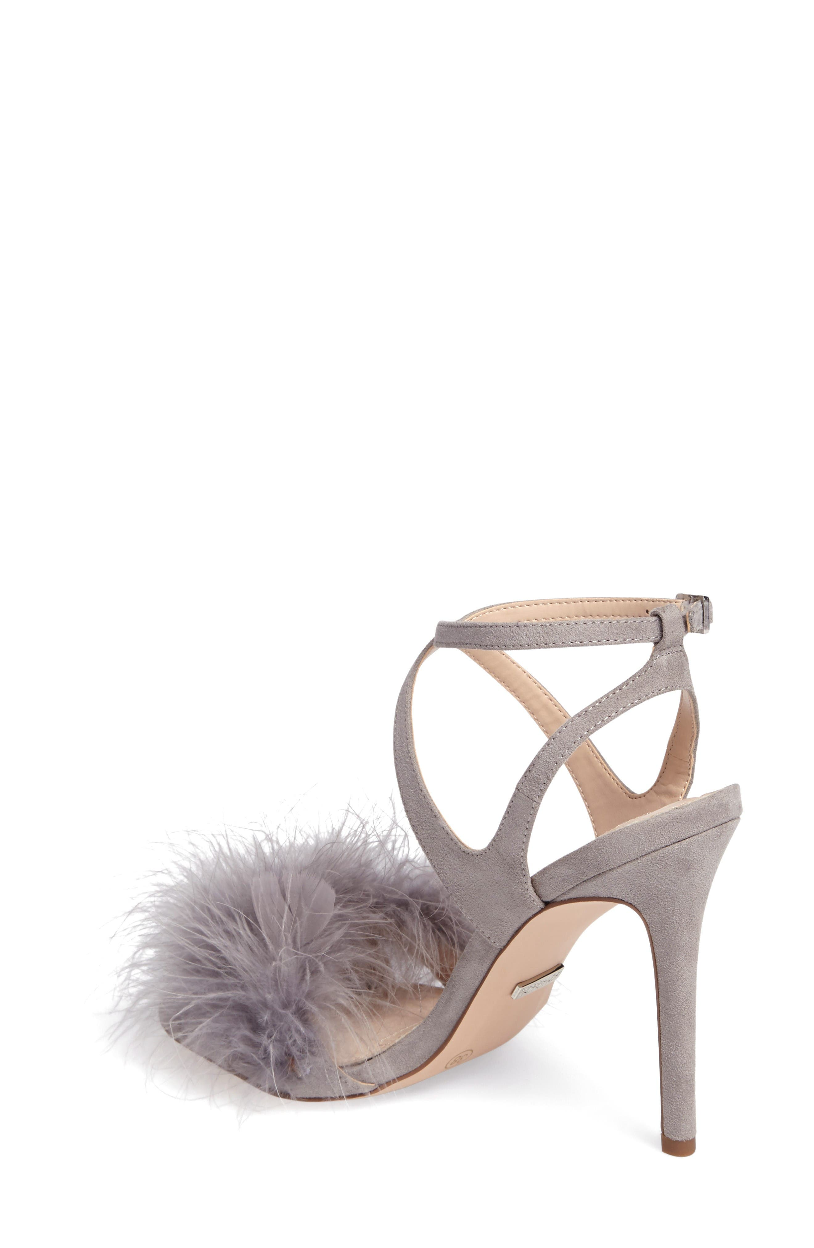 Reine Feathered Sandal,                             Alternate thumbnail 2, color,                             Grey