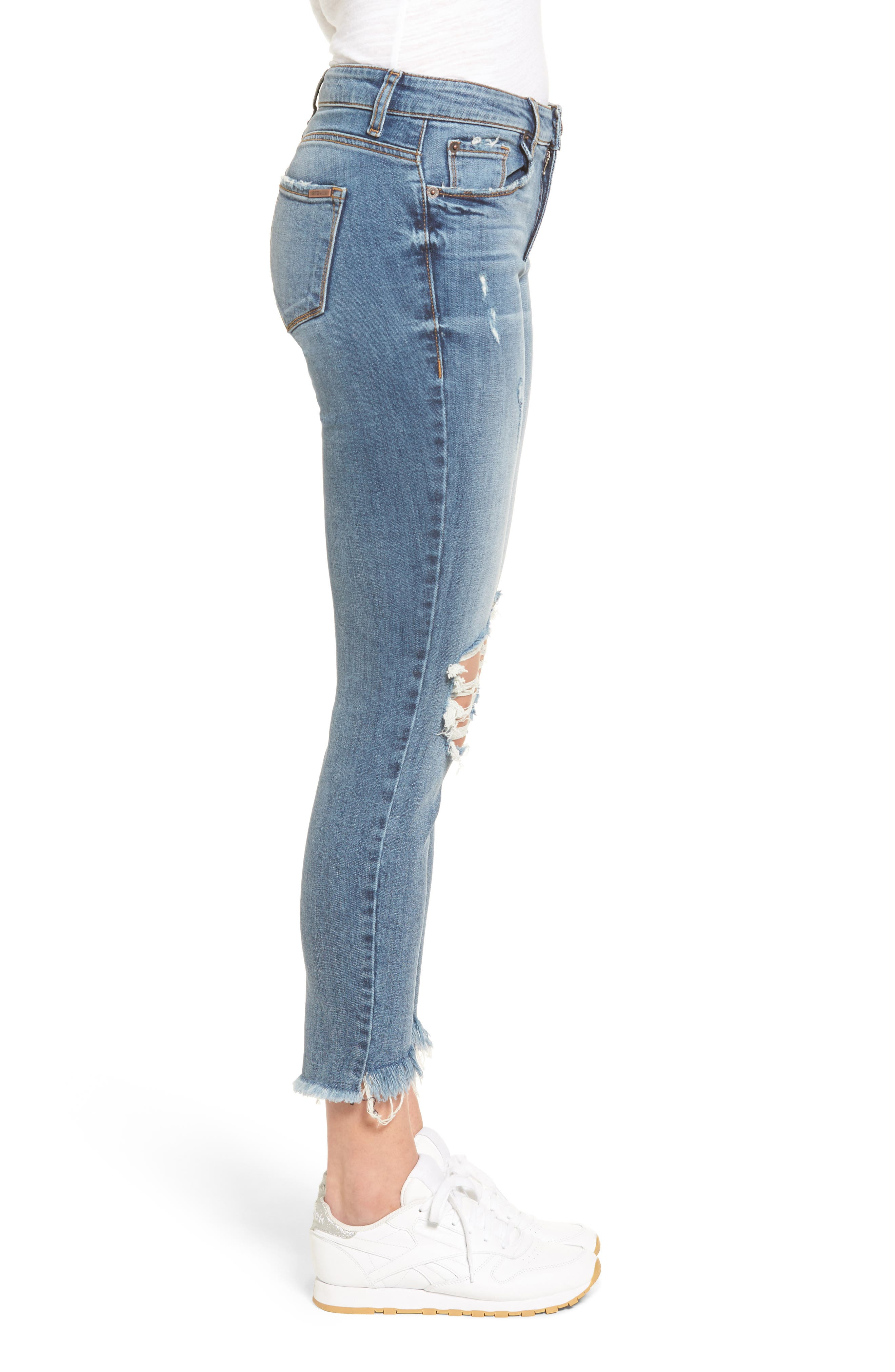 Emma Frayed Hem Skinny Jeans,                             Alternate thumbnail 3, color,                             Elings Park