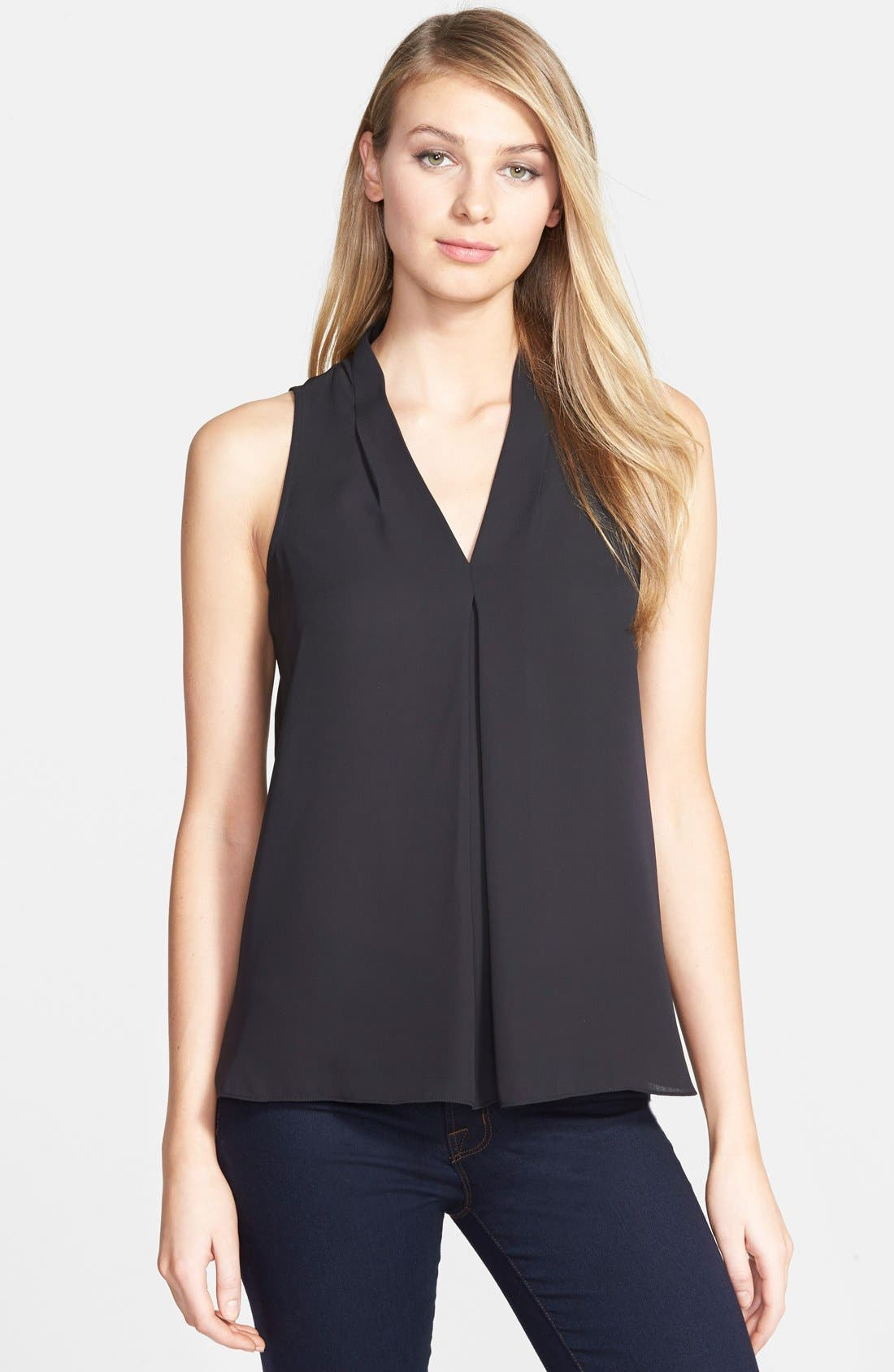 Vince Camuto Pleat Front V-Neck Top (Regular & Petite)