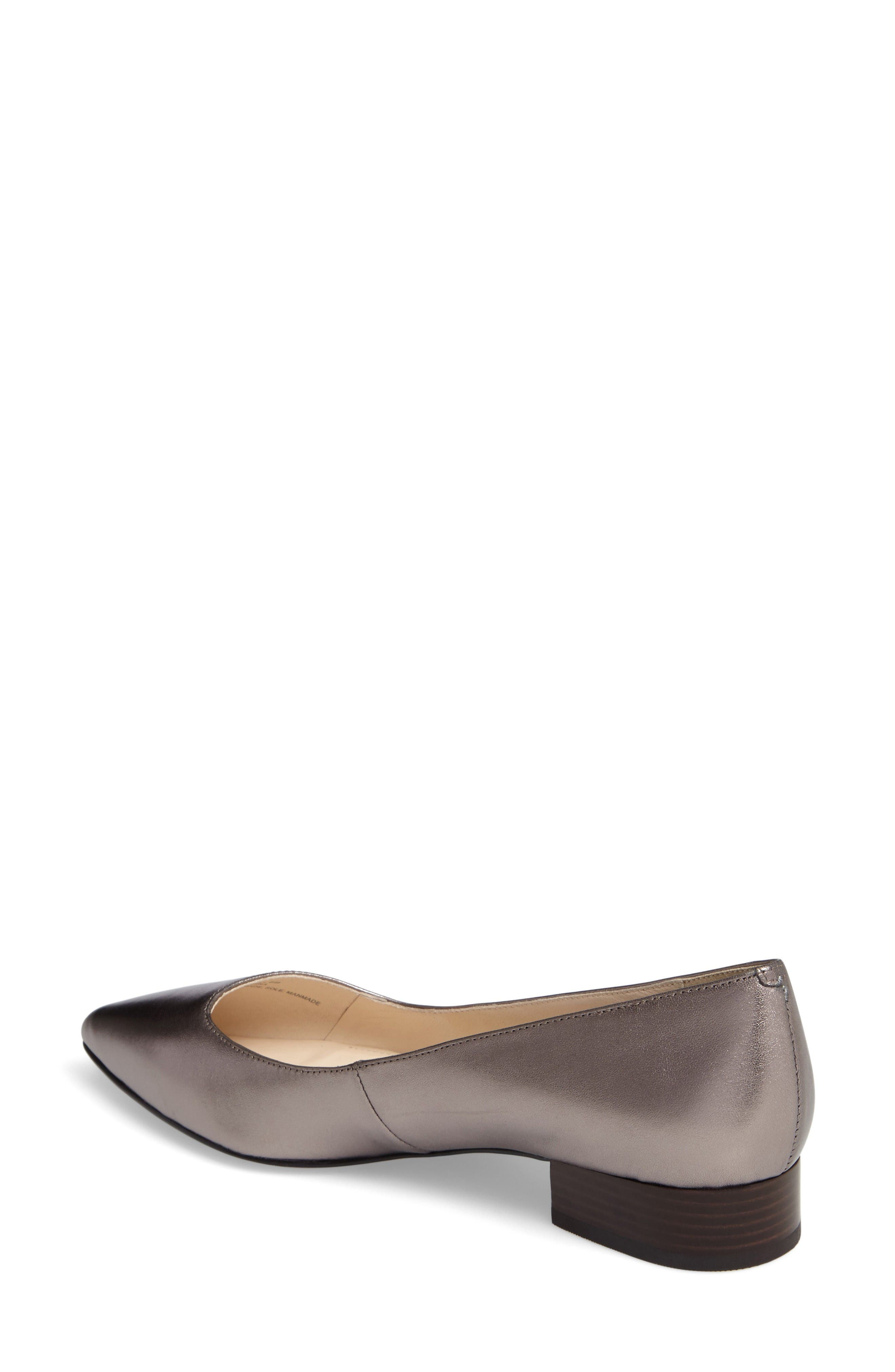 Heidy Pointy Toe Flat,                             Alternate thumbnail 2, color,                             Pewter Metallic Leather