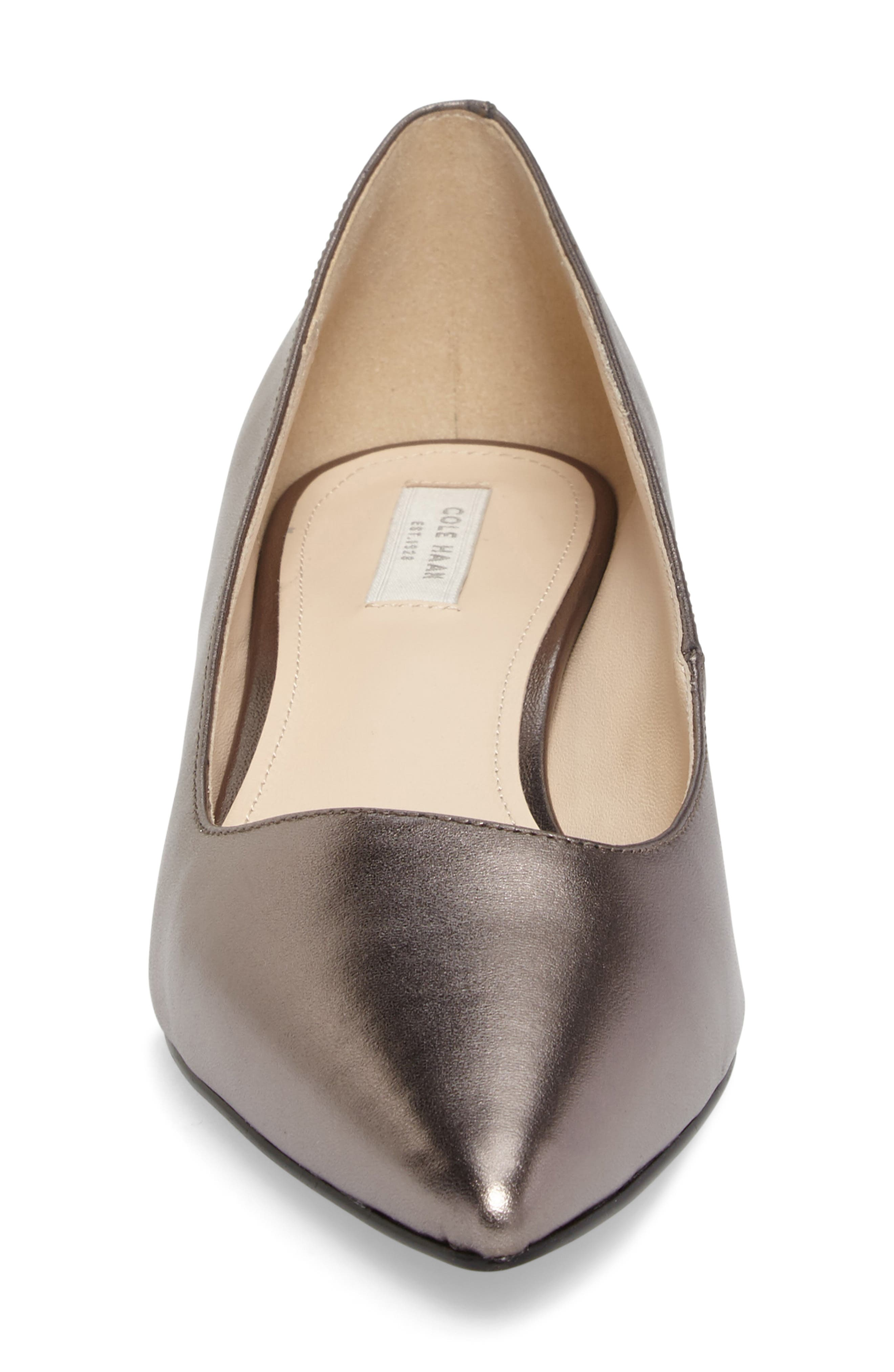 Heidy Pointy Toe Flat,                             Alternate thumbnail 4, color,                             Pewter Metallic Leather