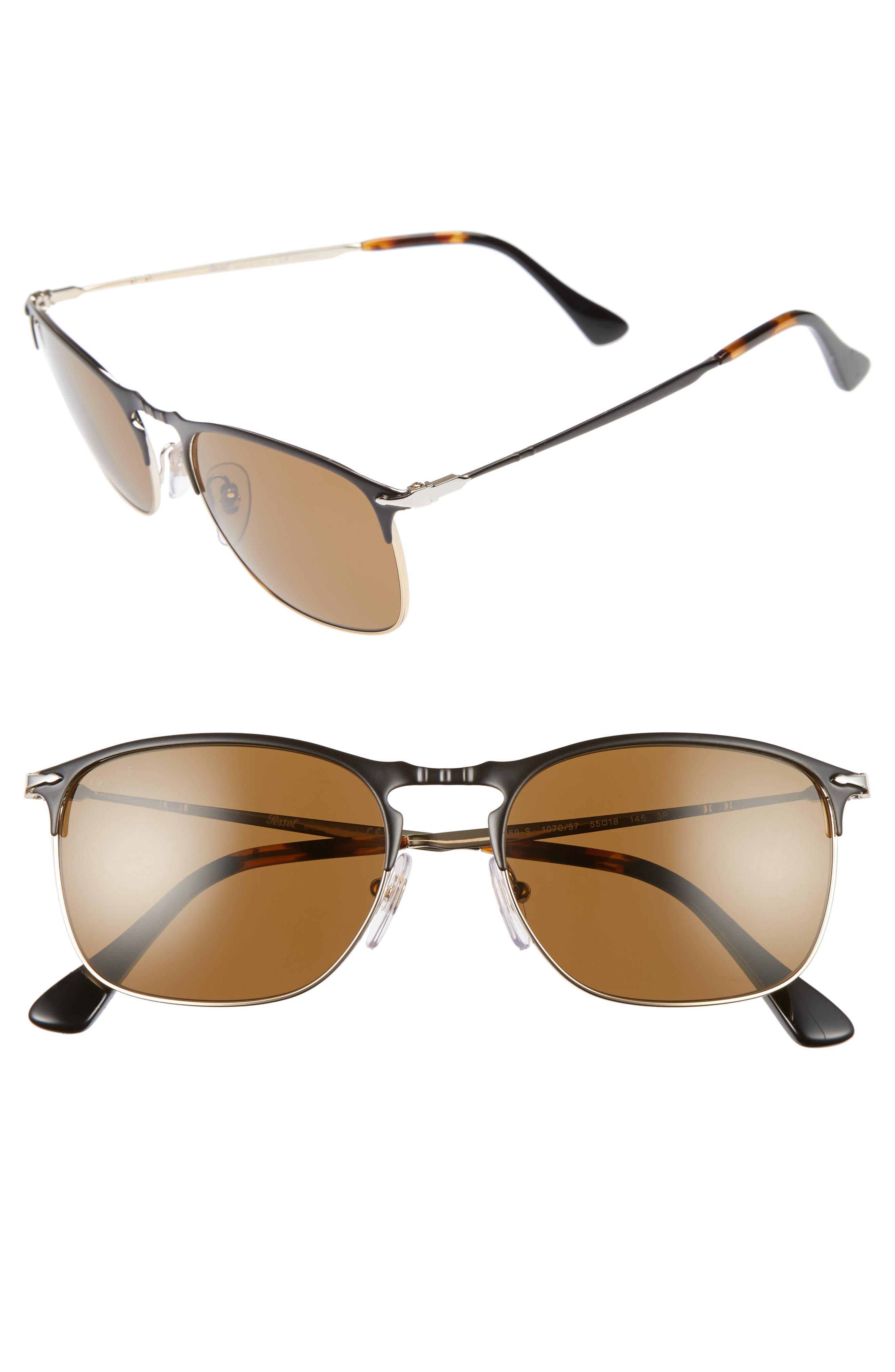 Evolution 55mm Polarized Aviator Sunglasses,                         Main,                         color, Matte Black