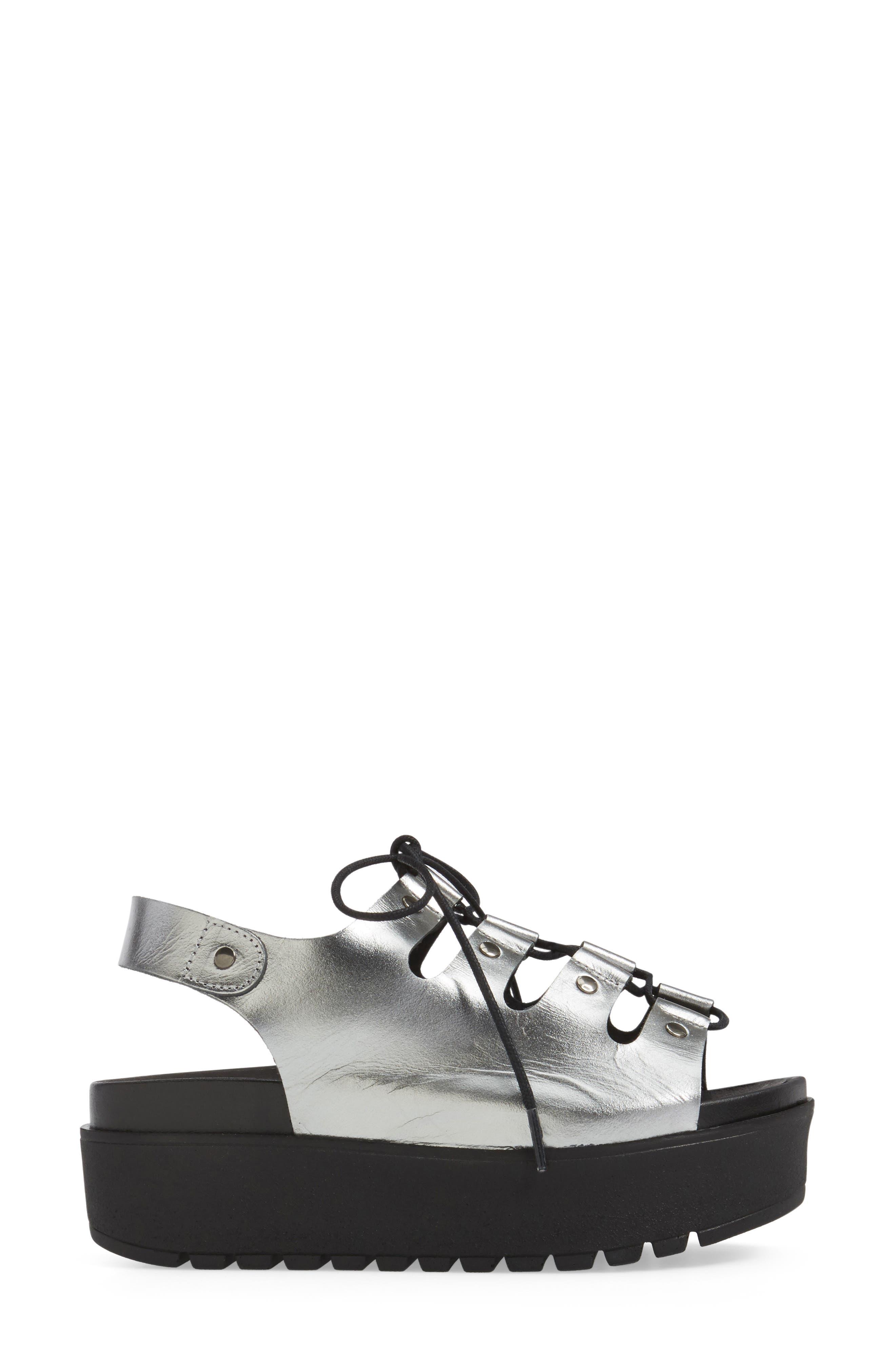 Kacey Platform Sandal,                             Alternate thumbnail 3, color,                             Pewter