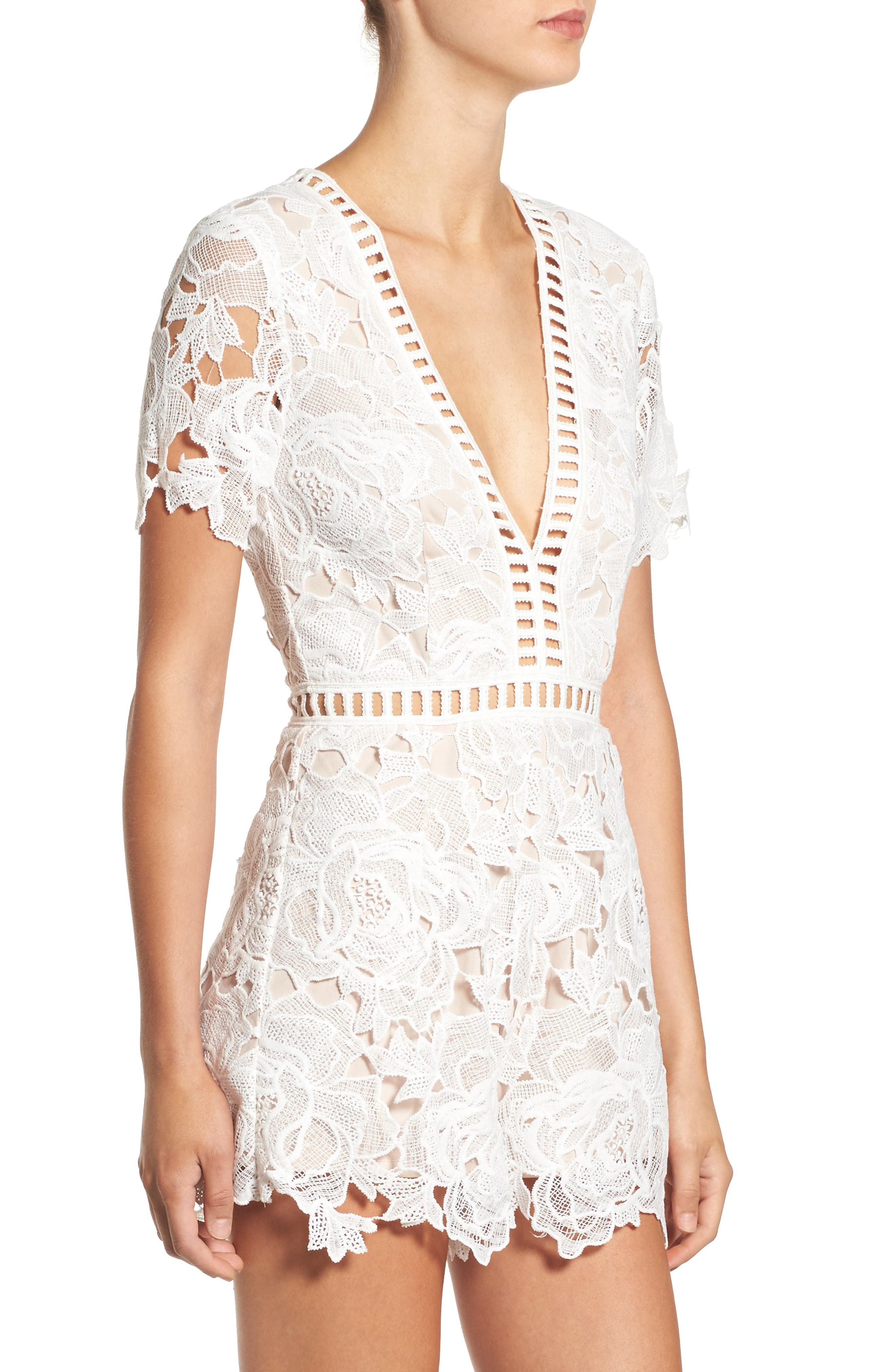 Alternate Image 4  - Missguided Ladder Inset Lace Romper