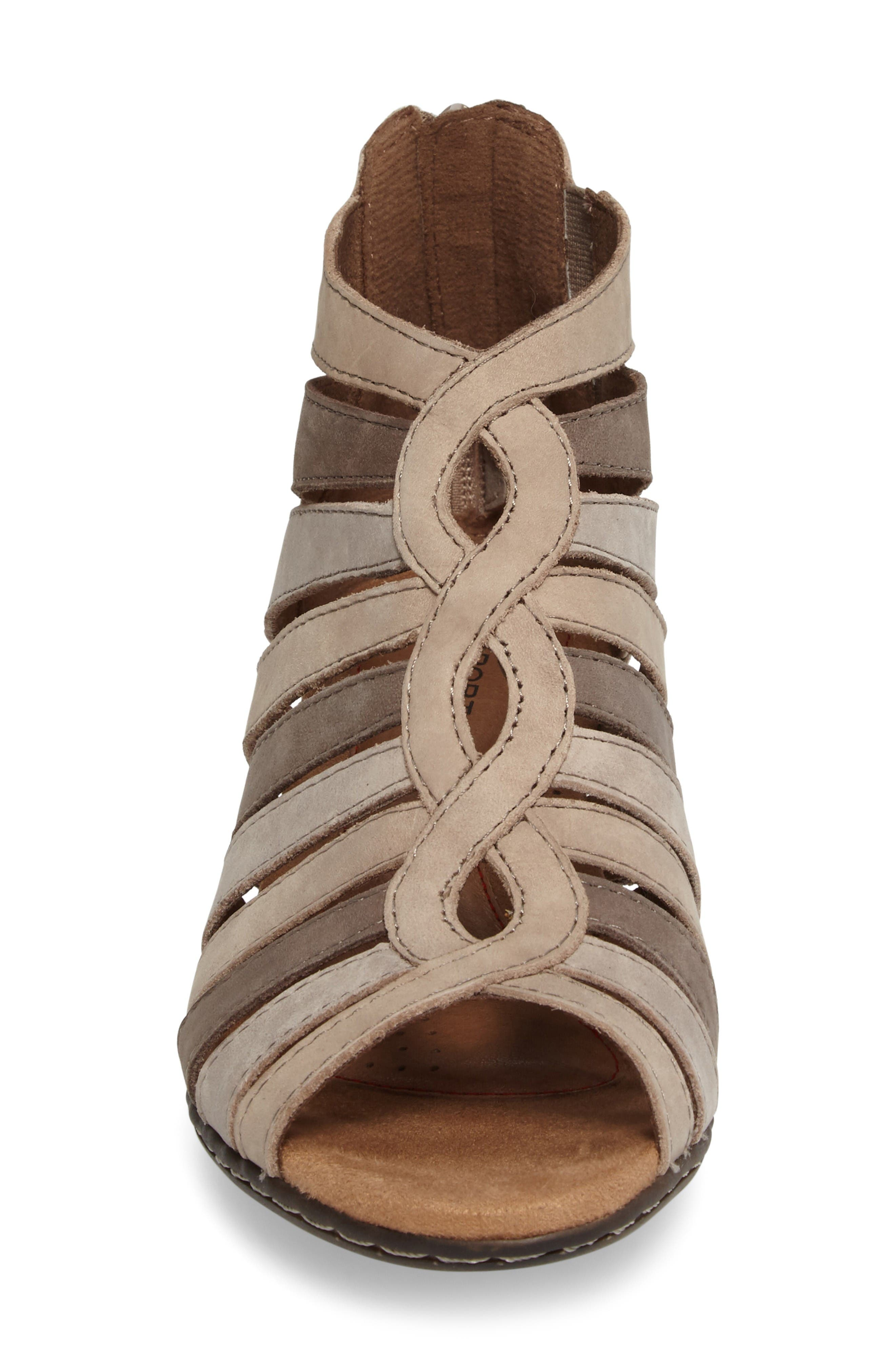 Abbott Caged Sandal,                             Alternate thumbnail 4, color,                             Light Khaki Multi Leather