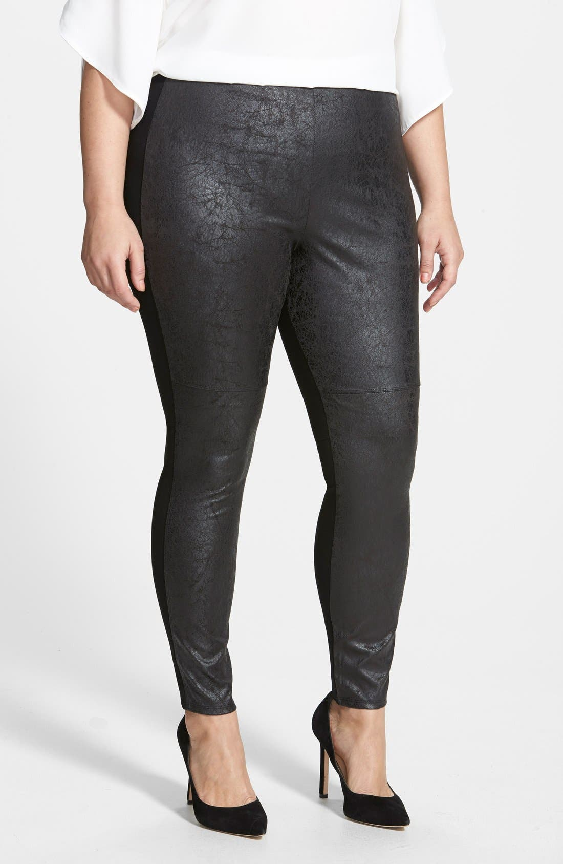 Main Image - Lyssé Distressed Faux Leather & Ponte Knit Leggings (Plus Size)