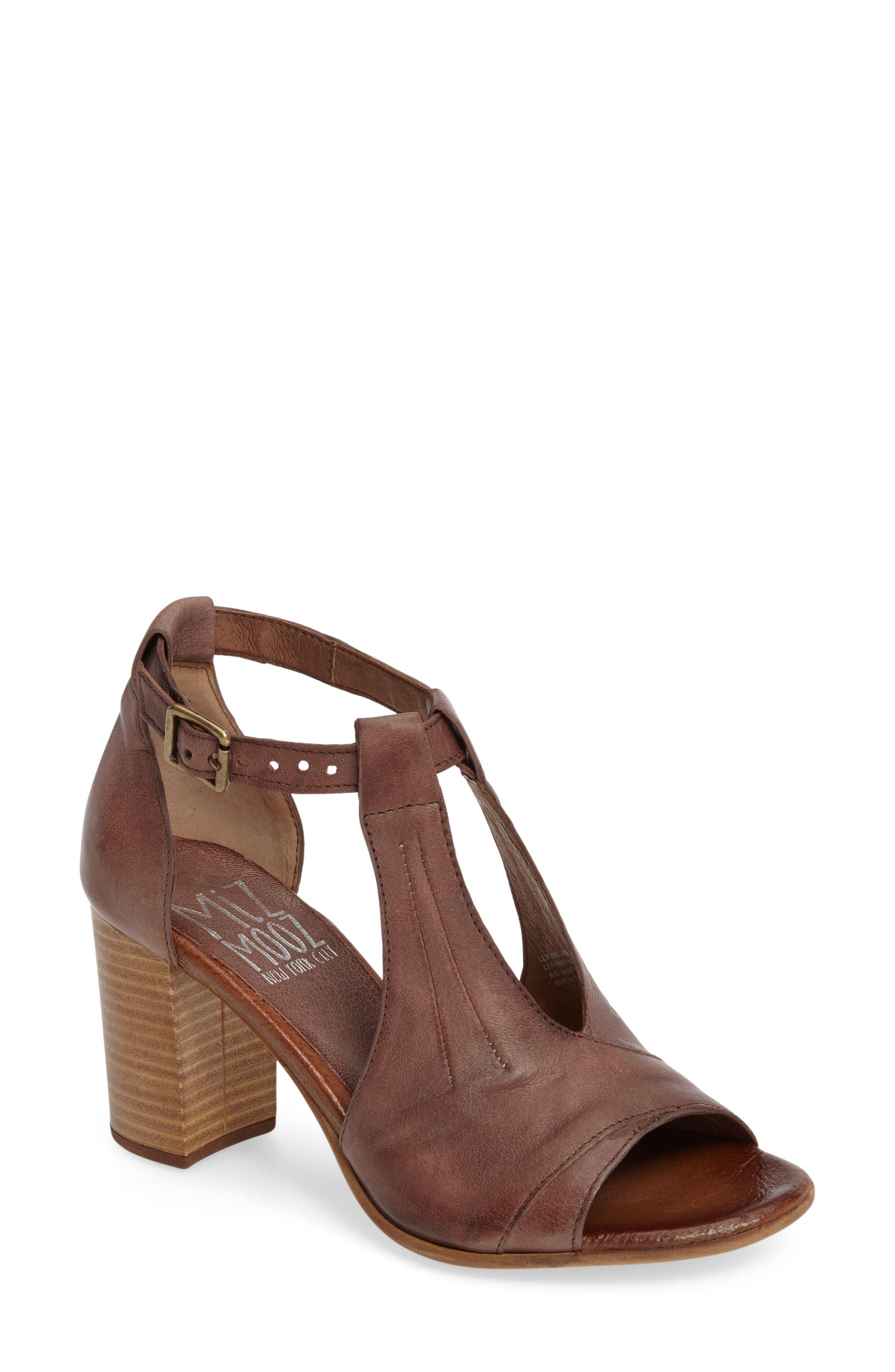 Savannah T-Strap Strap Sandal,                         Main,                         color, Mauve Leather