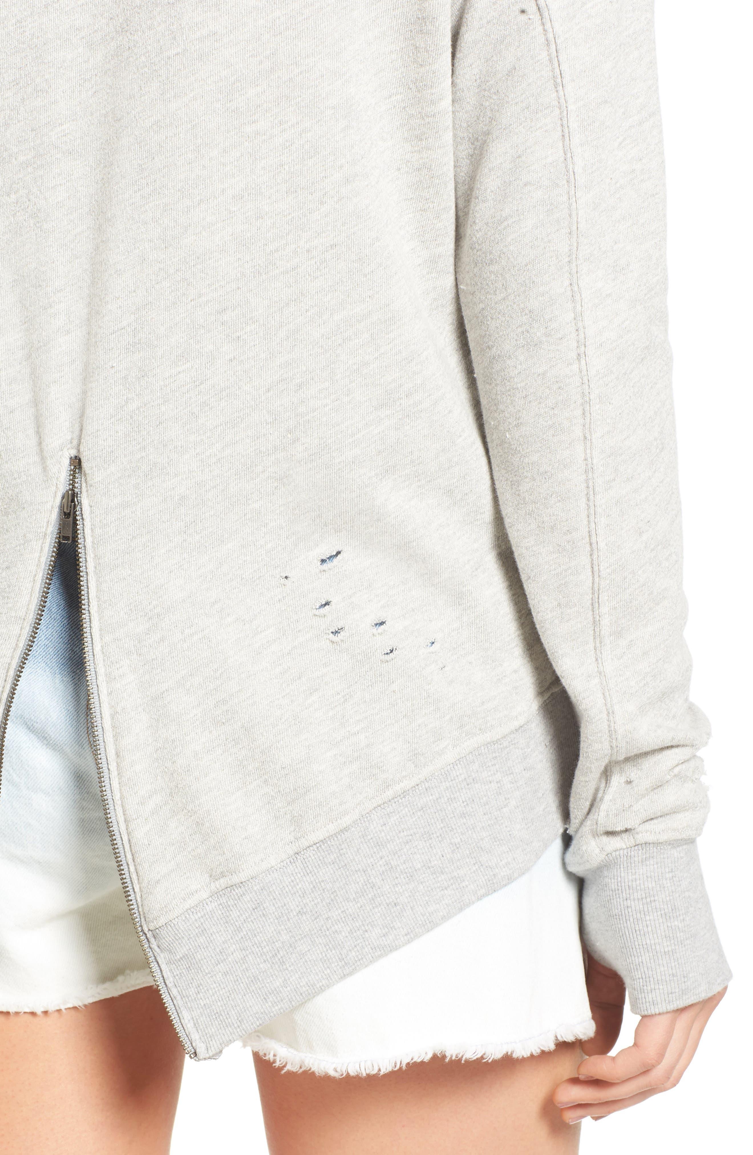 Alternate Image 4  - Pam & Gela 'Annie' Destroyed High/Low Sweatshirt