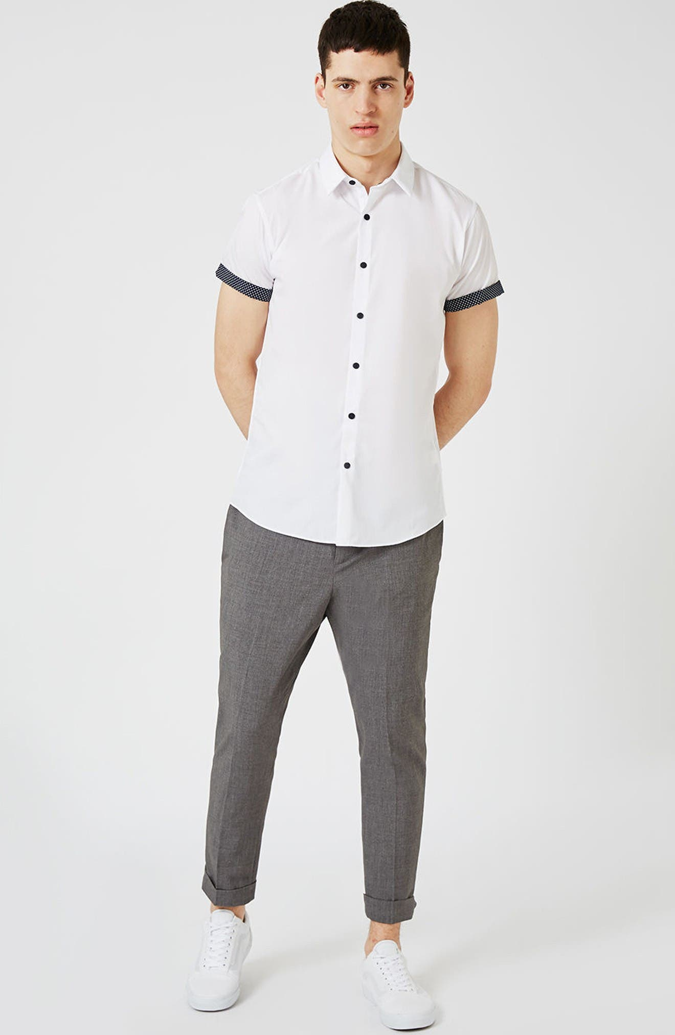 Dot Cuff Shirt,                             Alternate thumbnail 2, color,                             White Multi