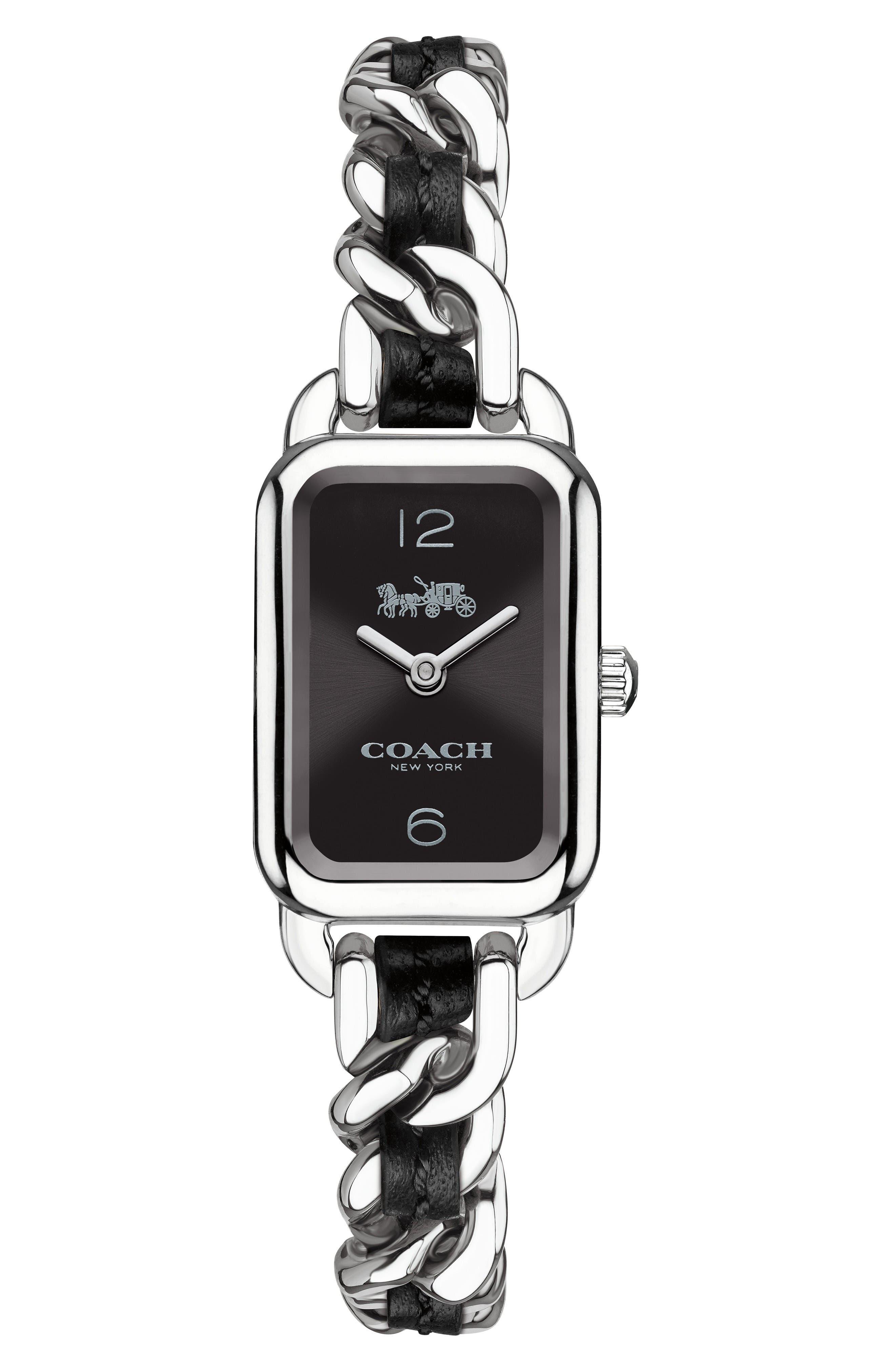 Ludlow Leather Bracelet Watch, 17mm,                         Main,                         color, Black/ Silver