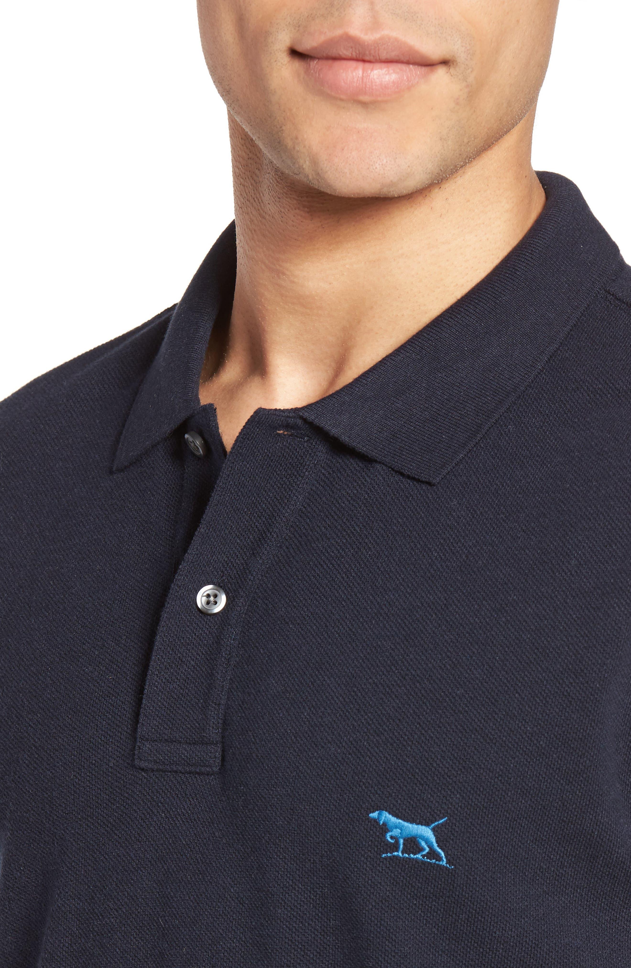 'The Gunn' Piqué Sports Fit Cotton Polo,                             Alternate thumbnail 4, color,                             Navy